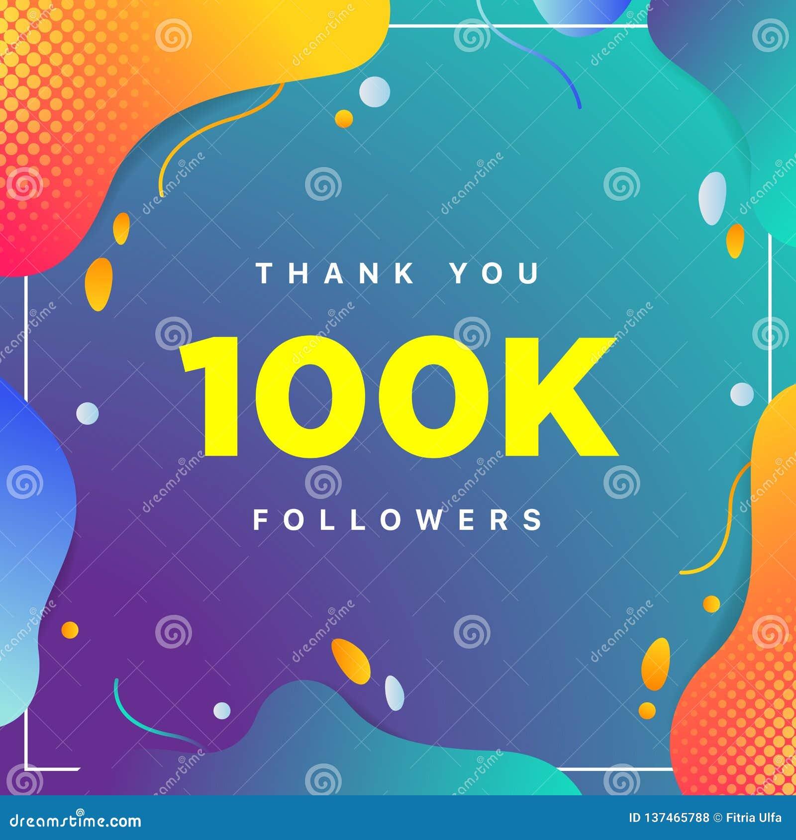 100k lub 100000, zwolennicy dziękują was kolorowa geometryczna tło liczba abstrakt dla Ogólnospołecznych sieć przyjaciół, zwolenn