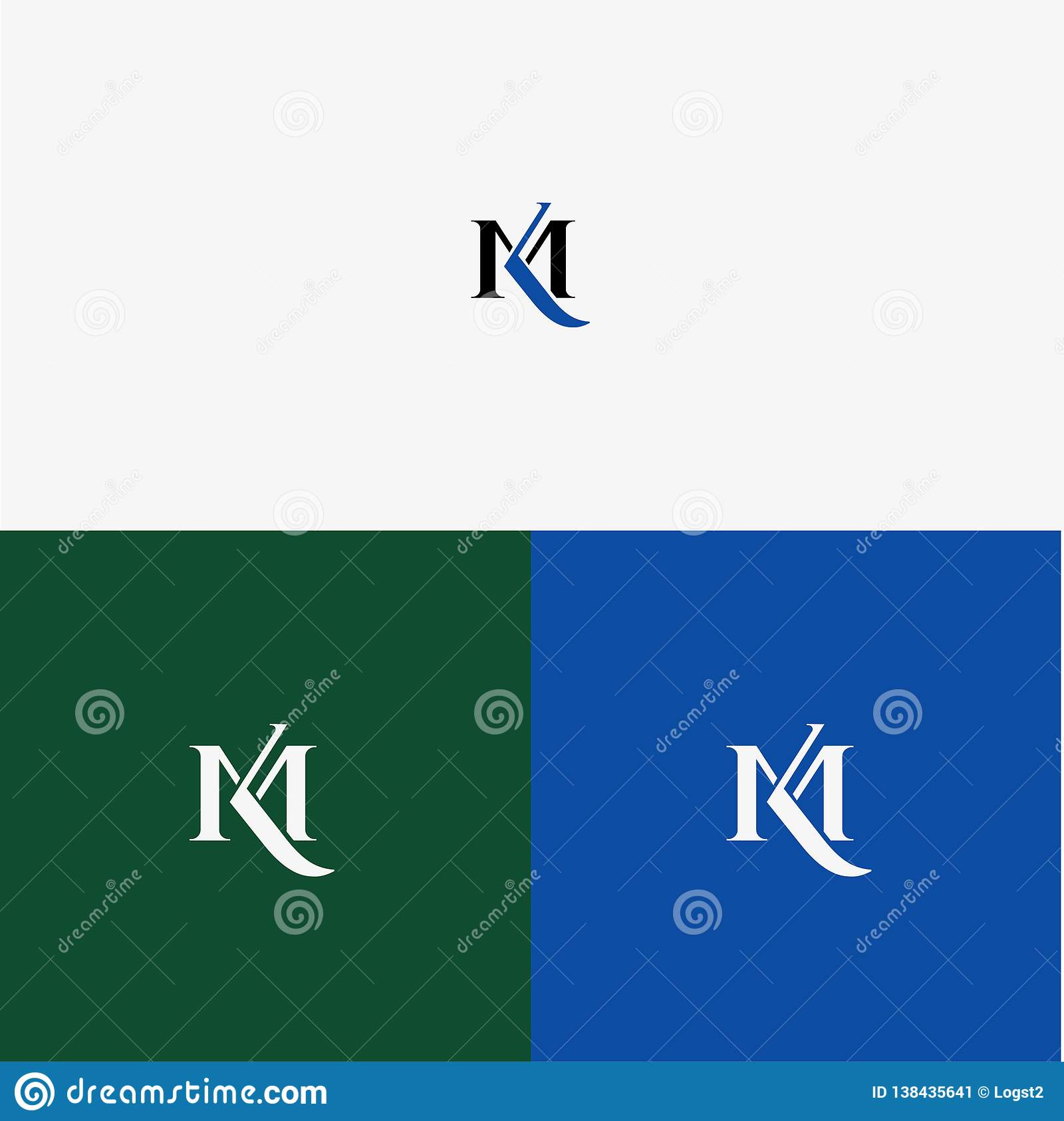 K M Vector Logo Business Logo Km Letters Of The Alphabet Monogram Stock Vector Illustration Of Abstract Initial 138435641