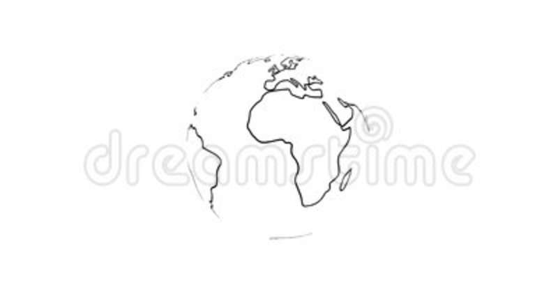 4k Planet Earth Rendered Animation Video Black Outline Continents Isolated  On White. Stock Video   Video Of America, Drawing: 107041271