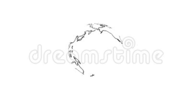 4k Planet Earth Rendered Animation With Zoom In On Black Outline Continents  Isolated On White Background. Stock Footage   Video Of Earth, ...