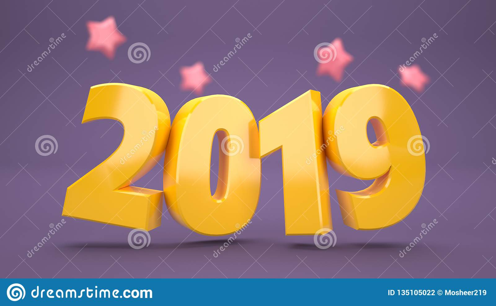 4k Rialstic 3d New Year Wallpaper 2019 Stock Illustration