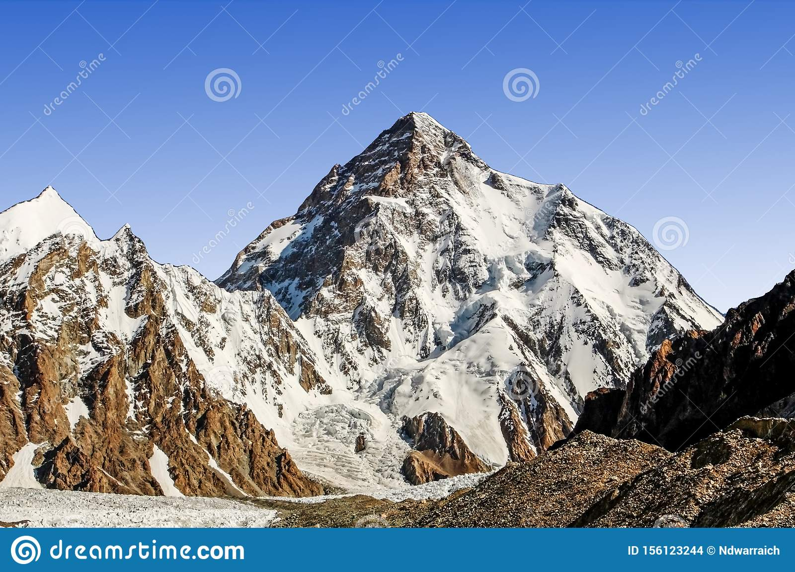 K2 The Second Tallest Mountains Stock Photo - Image of meters, destination:  156123244