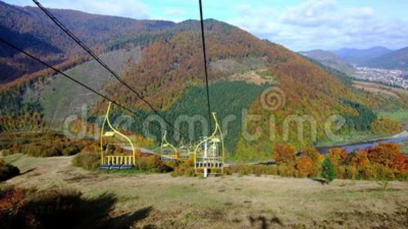 4K UHD Footage Of Ski Lift Or Elevator Going Down Stock Footage ...