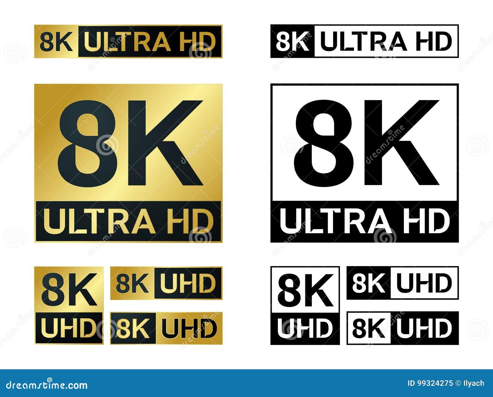 8k Ultra Hd Icon Vector 8k Uhd Tv Symbol Of High Definition Monitor Display Resolution Standard