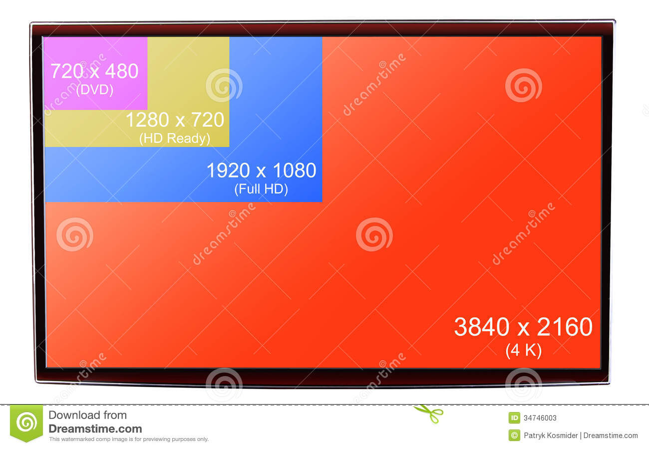 4K Ultra HD Resolution On On Modern TV Stock Photos - Image: 34746003