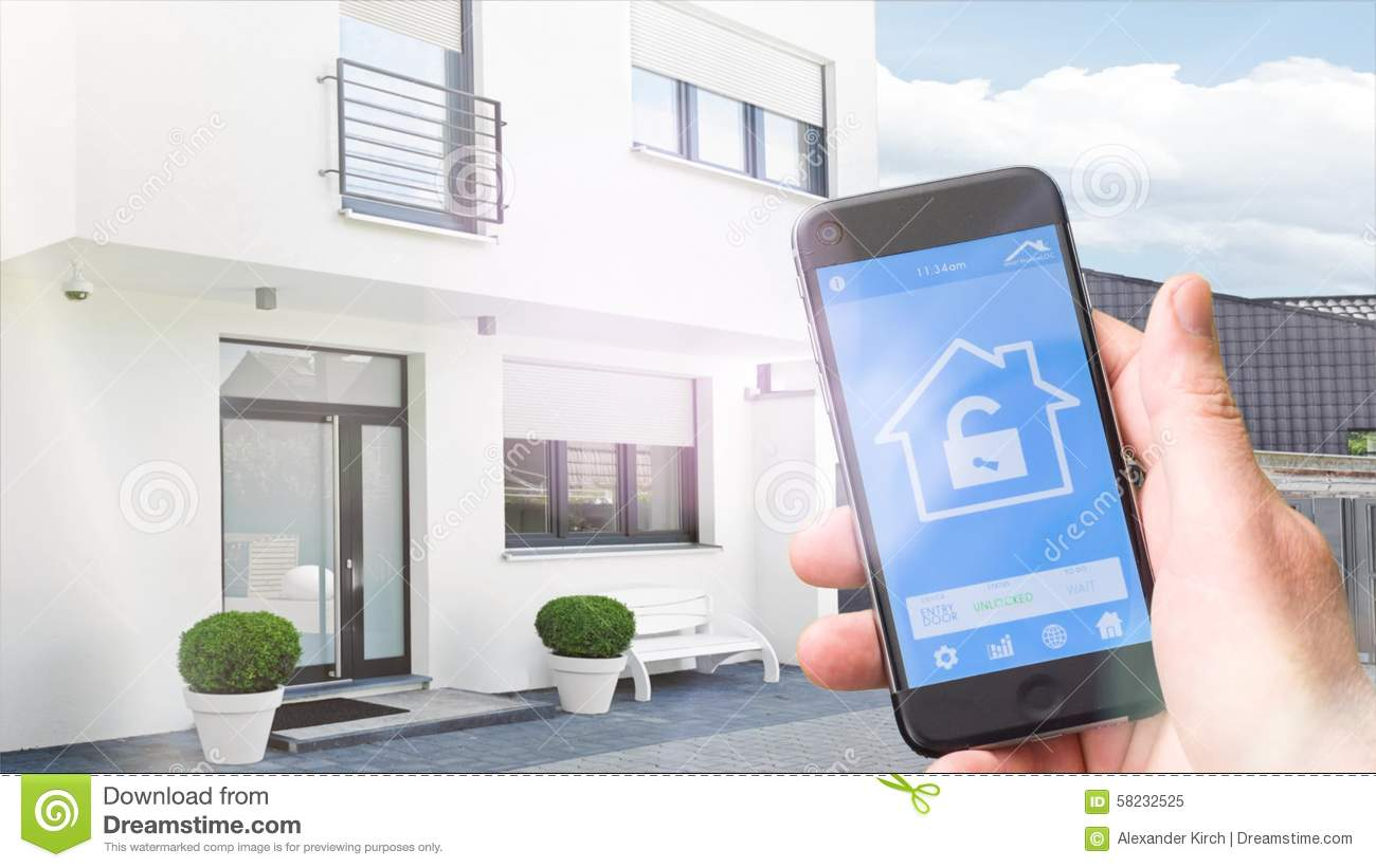 4k Ultra Hd Smart Home Homeautomation With Mobile Phone Stock Video Video Of Outside Surveillance 58232525