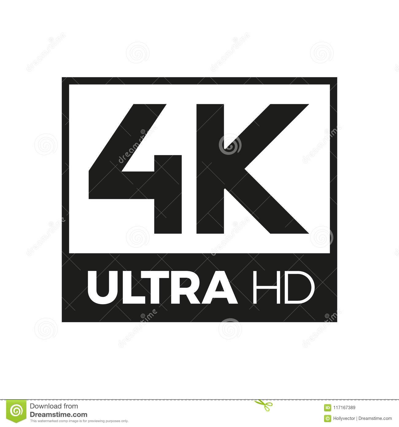 4k ultra hd symbol stock vector. illustration of monitor - 117167389