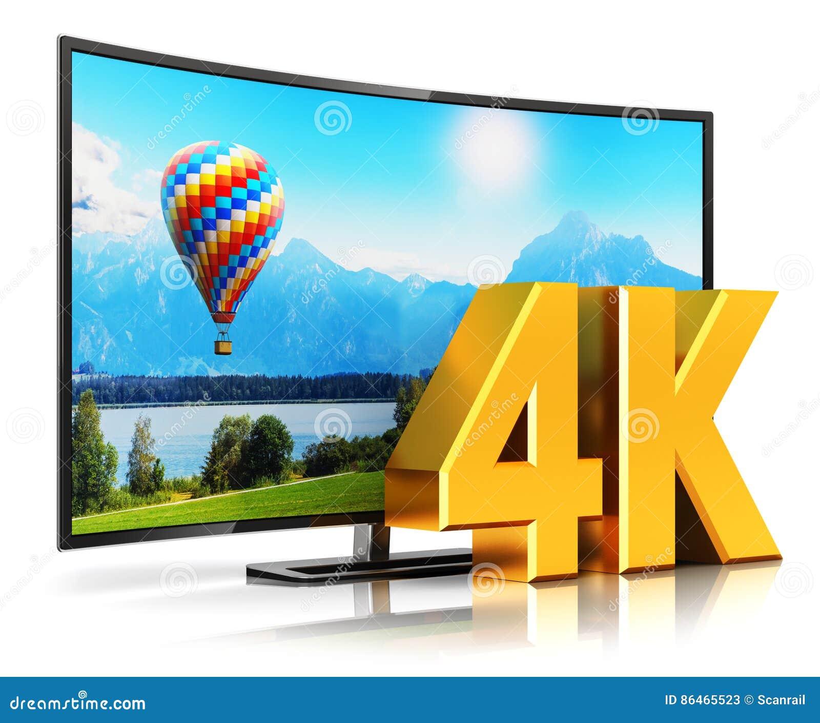 4K UltraHD curved TV stock illustration. Illustration of connection ...