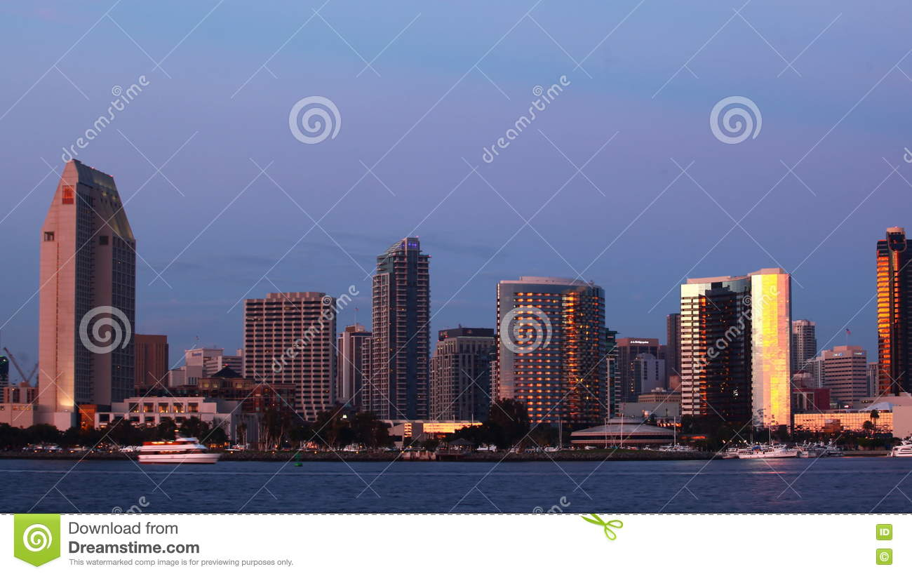4K UltraHD Timelapse Of The San Diego Skyline From Day To Night Stock Video