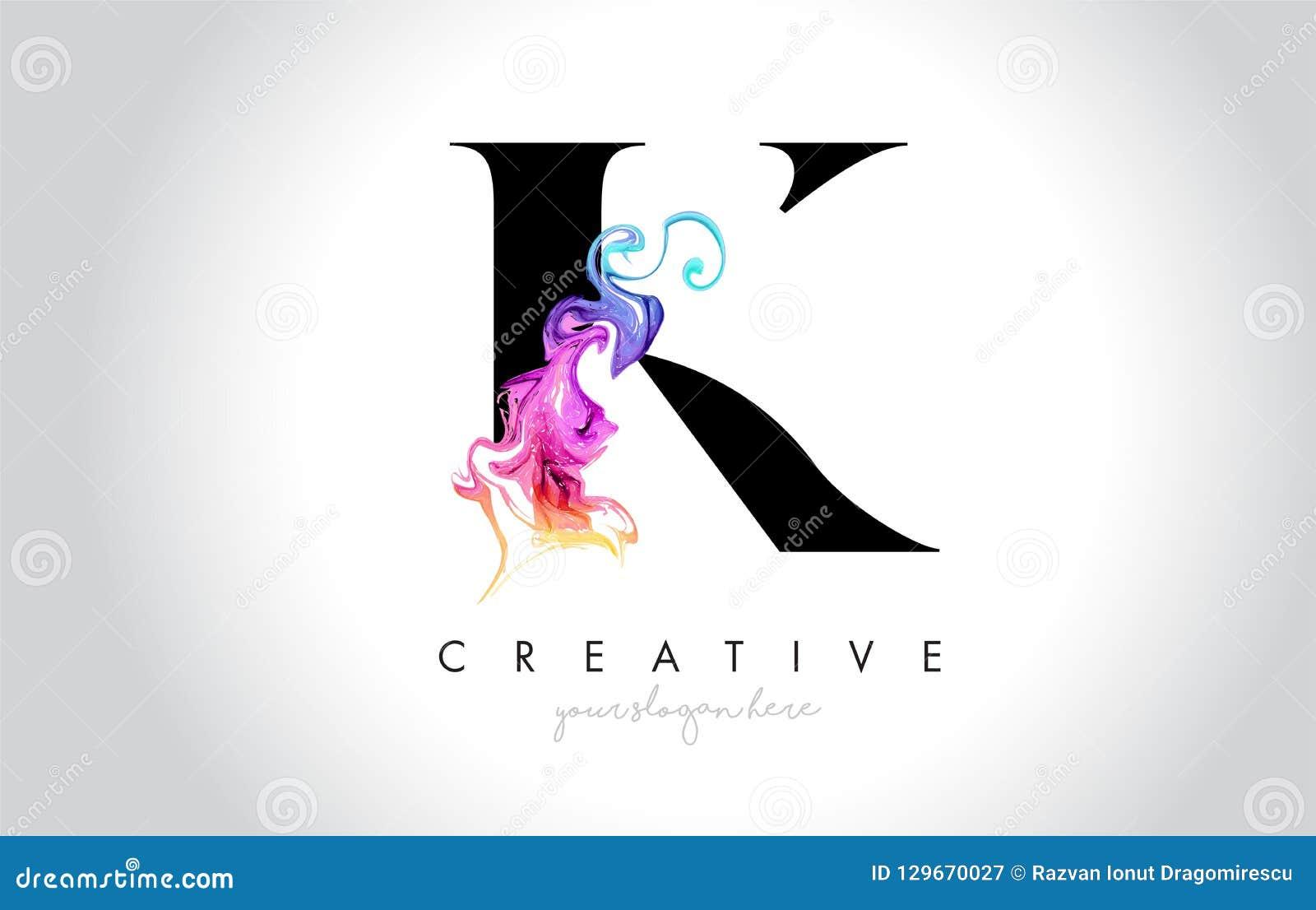 K vibrerande idérika Leter Logo Design med färgrikt rökfärgpulver Flo
