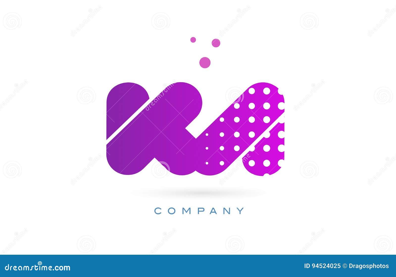 ka k a pink dots letter logo alphabet icon stock vector