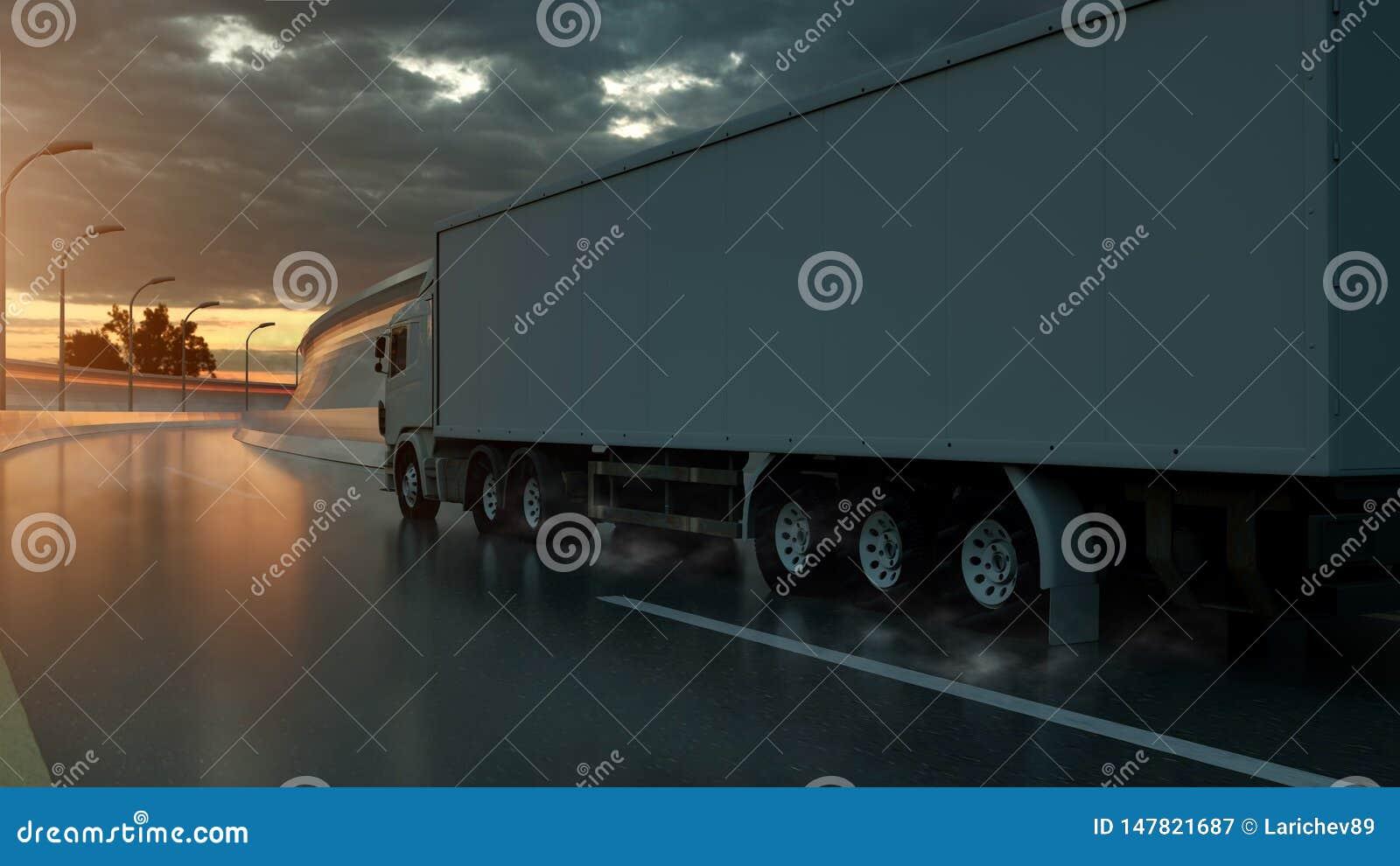 ?ka lastbil att rusa p? huvudv?gen, sidosikt Trans. s?ndningsbranschbegrepp illustration 3d