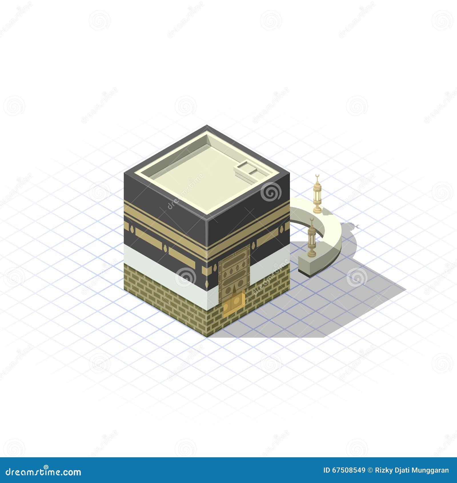 Kaaba isométrique la mosquée sacrée musulmane à Ville Sainte de Mecque