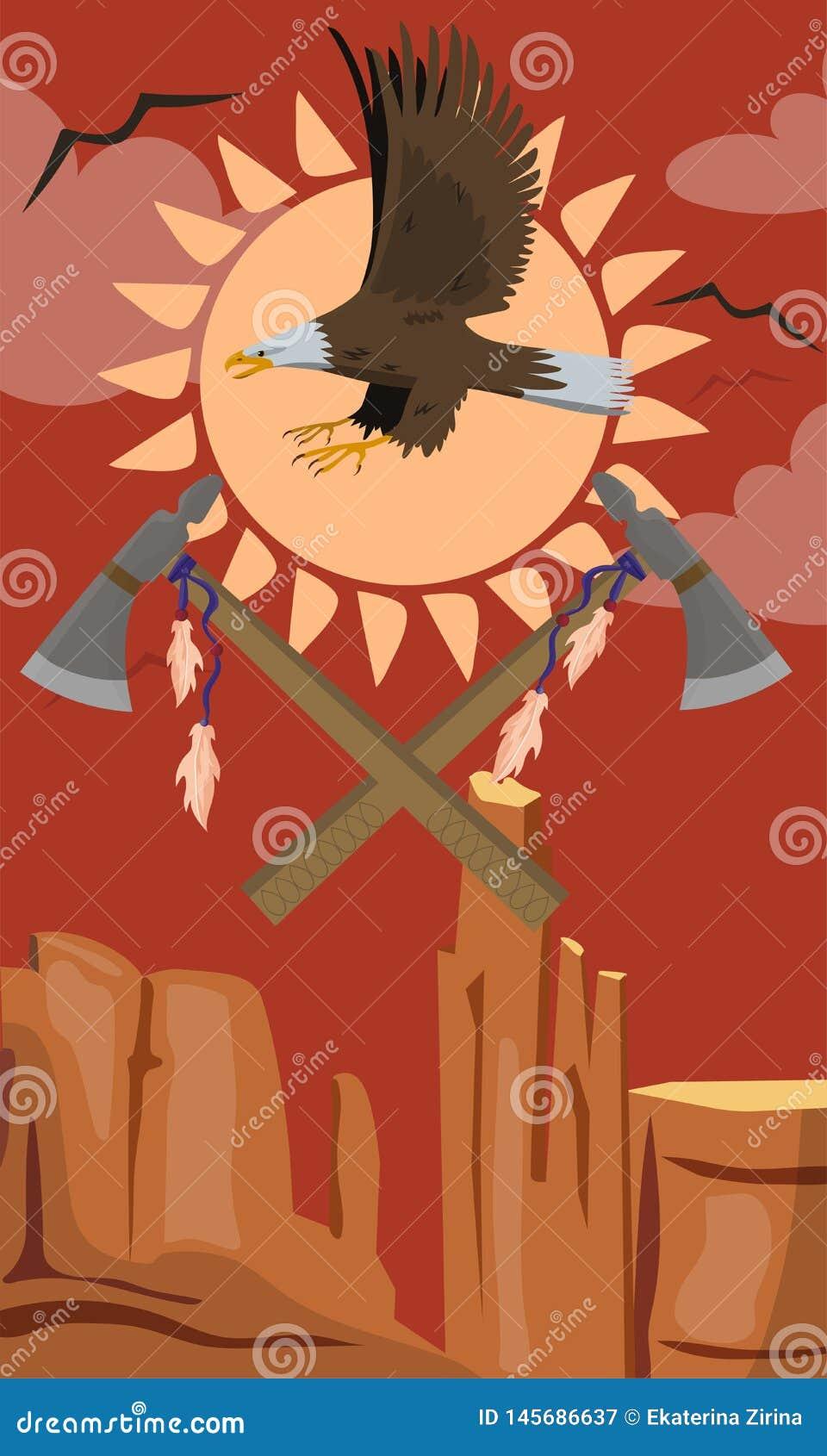 Kaal Eagle dat, de Vectorillustratie van het Tomahawkembleem vliegt