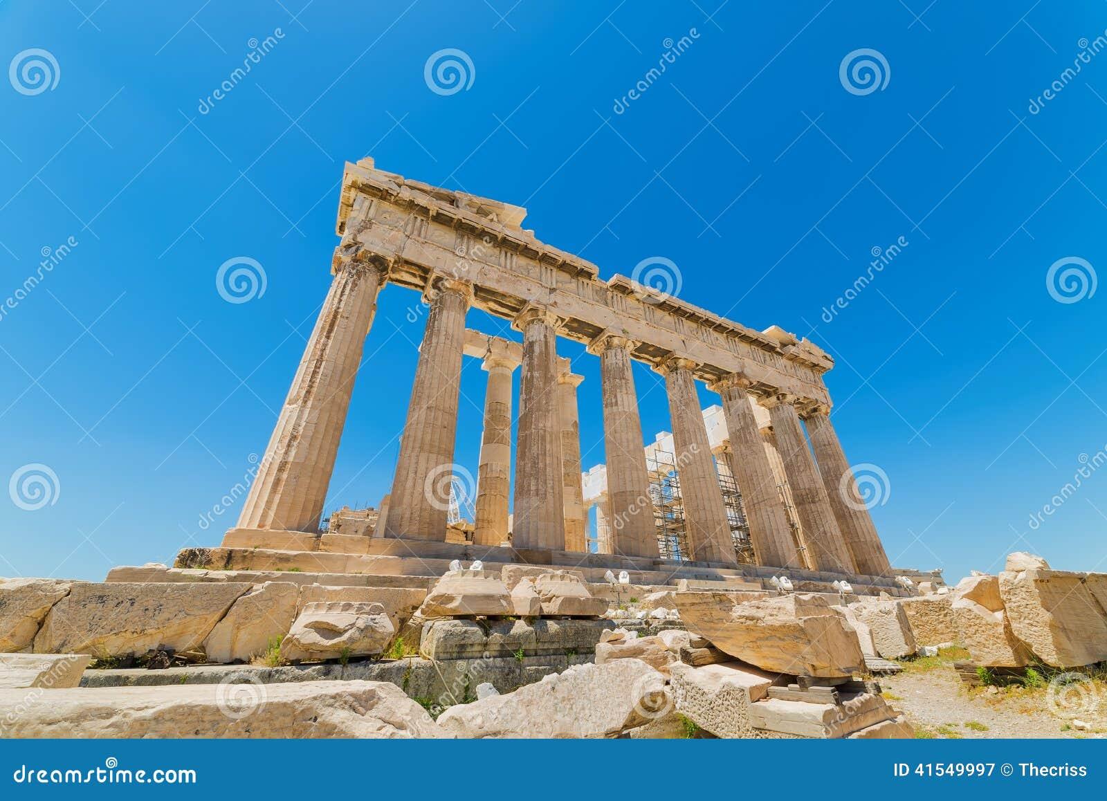 Kaap Sounion De plaats van ruïnes van een oude Griekse tempel van Poseidon, de god van het overzees in klassieke mythologie
