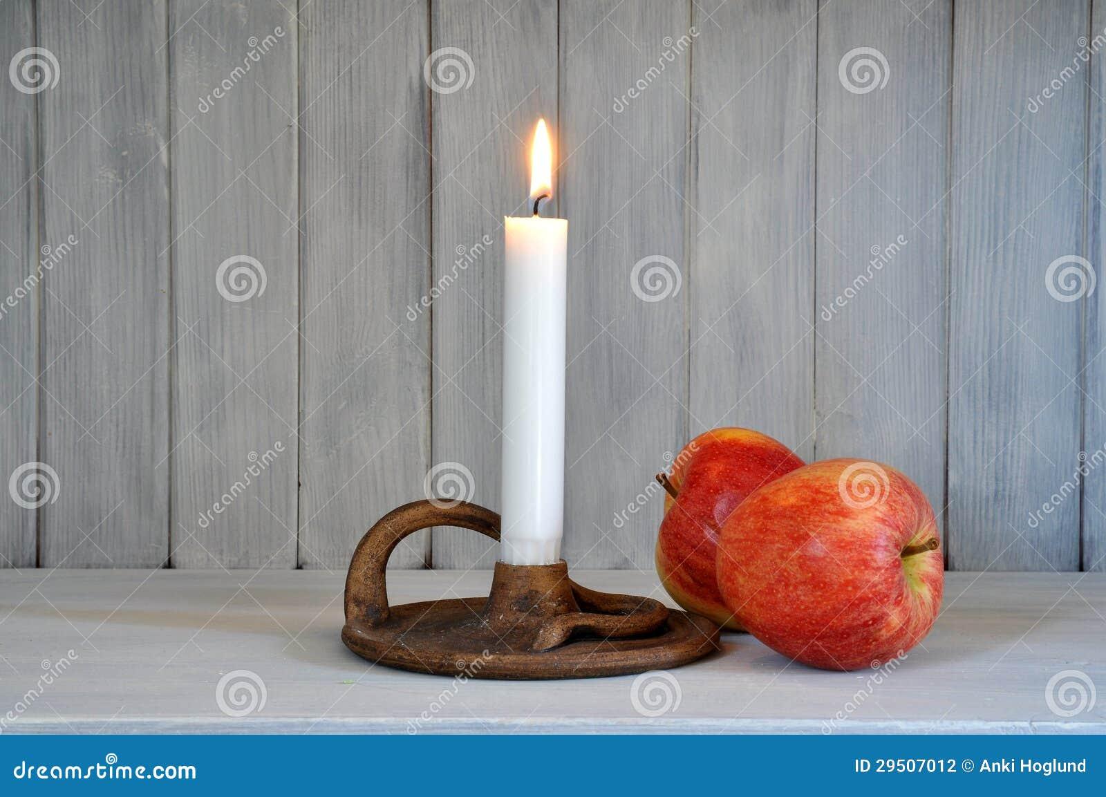 Kaars en appelen