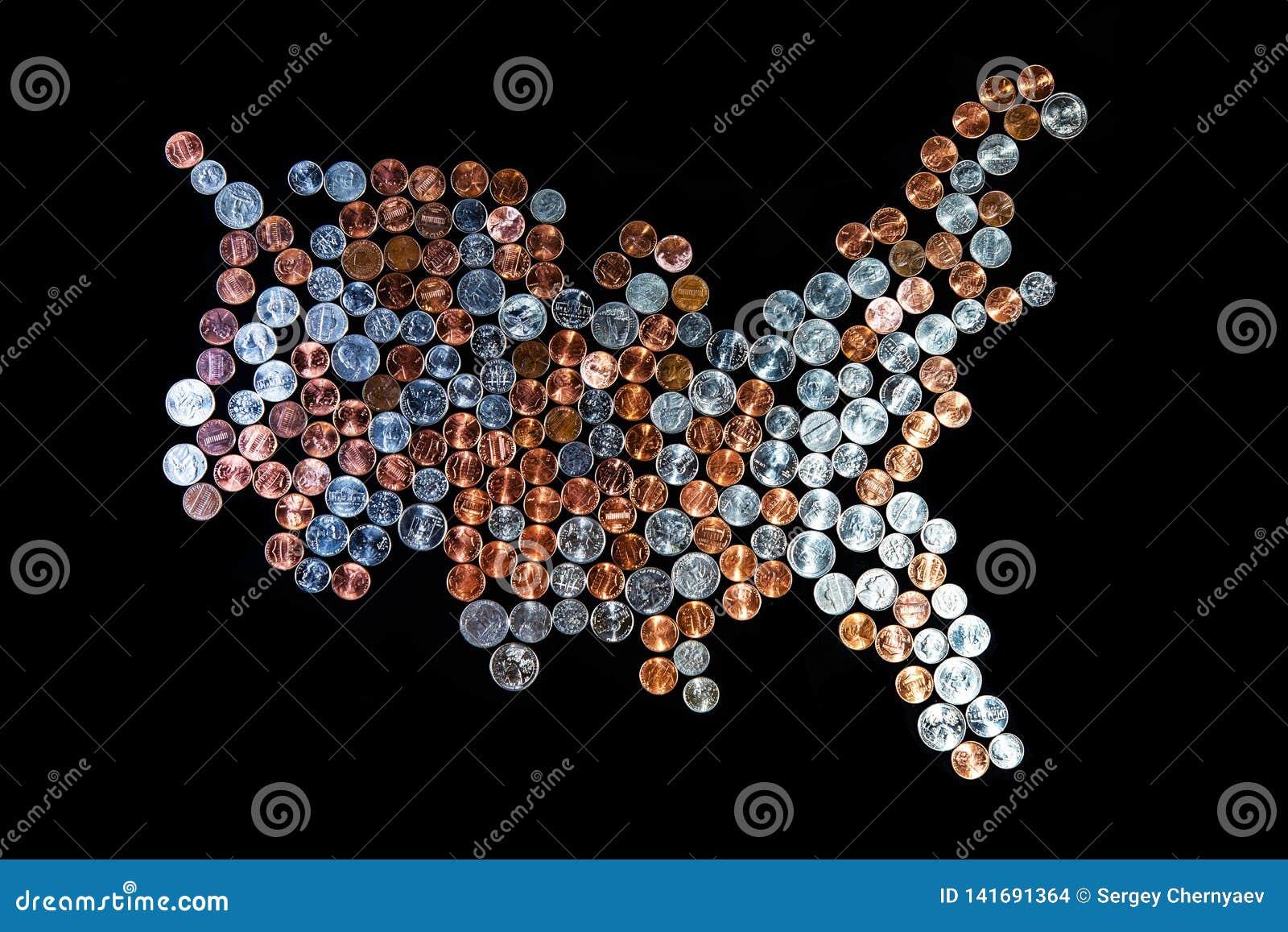 Kaart de Verenigde Staten van Amerika - Muntstukachtergrond Pence/Kwarten Centen