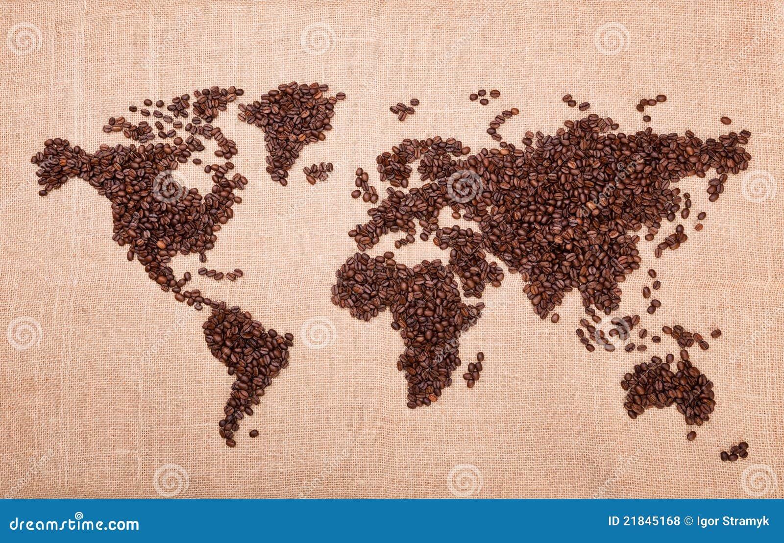Kaart die van koffie wordt gemaakt