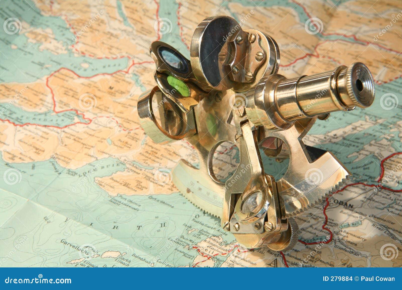 Kaart en sextant