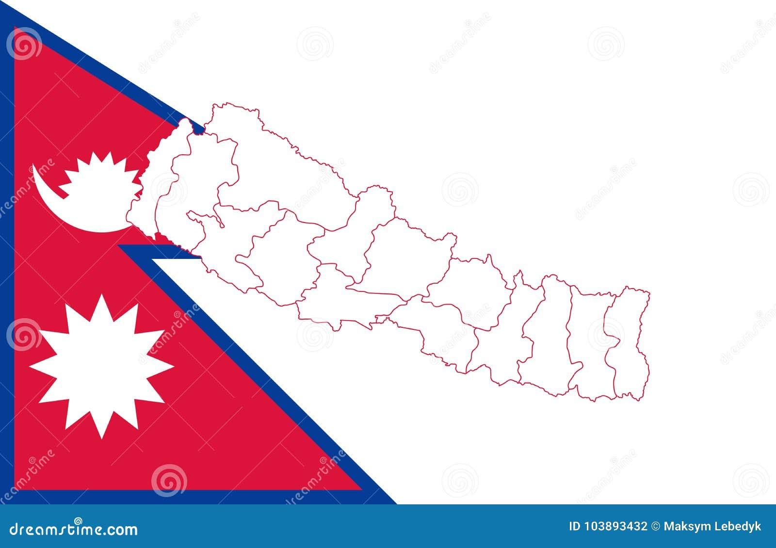 Kaart En Vlag Van Nepal Stock Illustratie Illustratie Bestaande