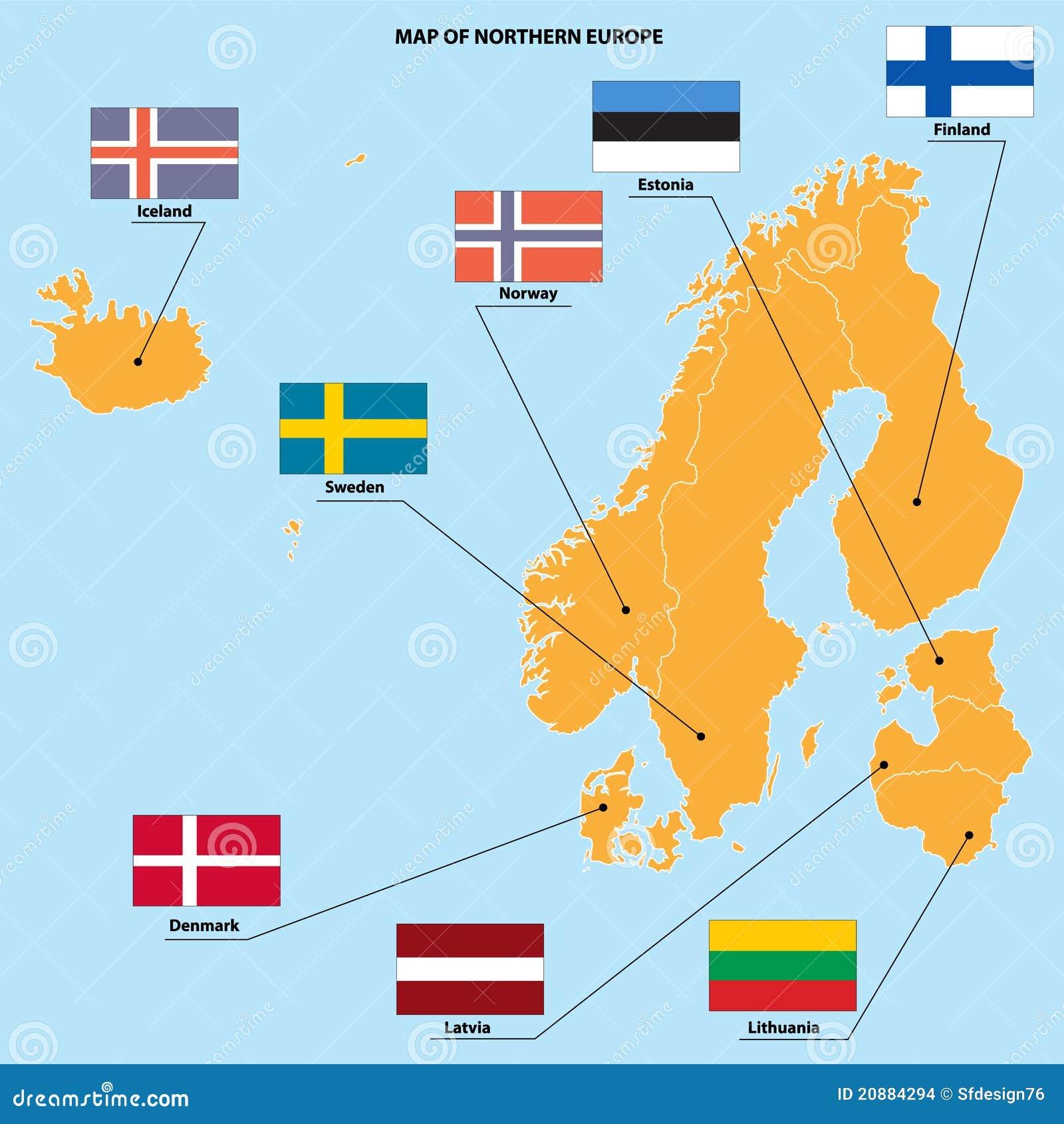 Kaart En Vlaggen Van Noord Europa Vector Illustratie Illustratie