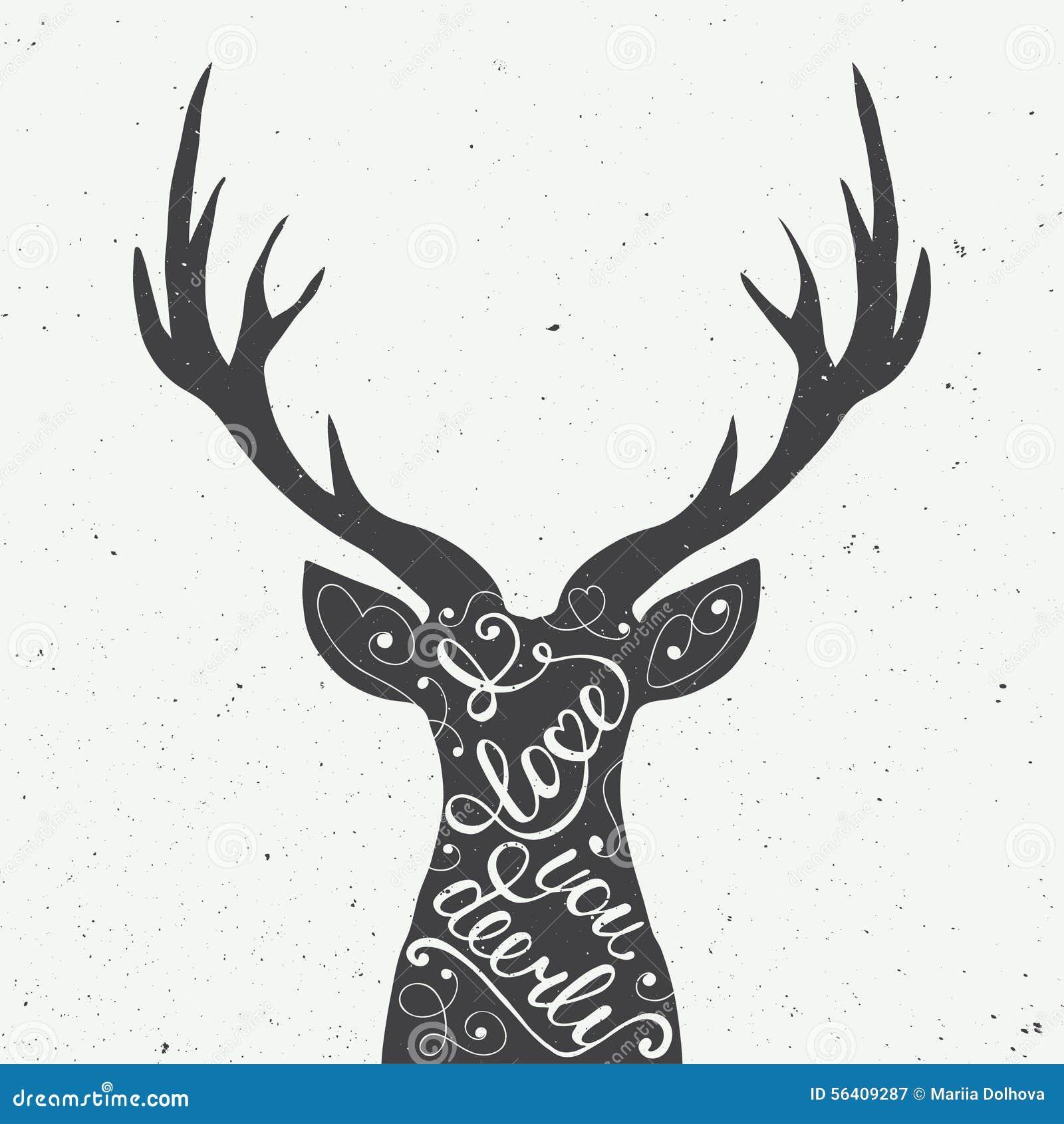 Kaart met het hand getrokken element van het typografieontwerp en herten voor groetkaarten, affiches en druk