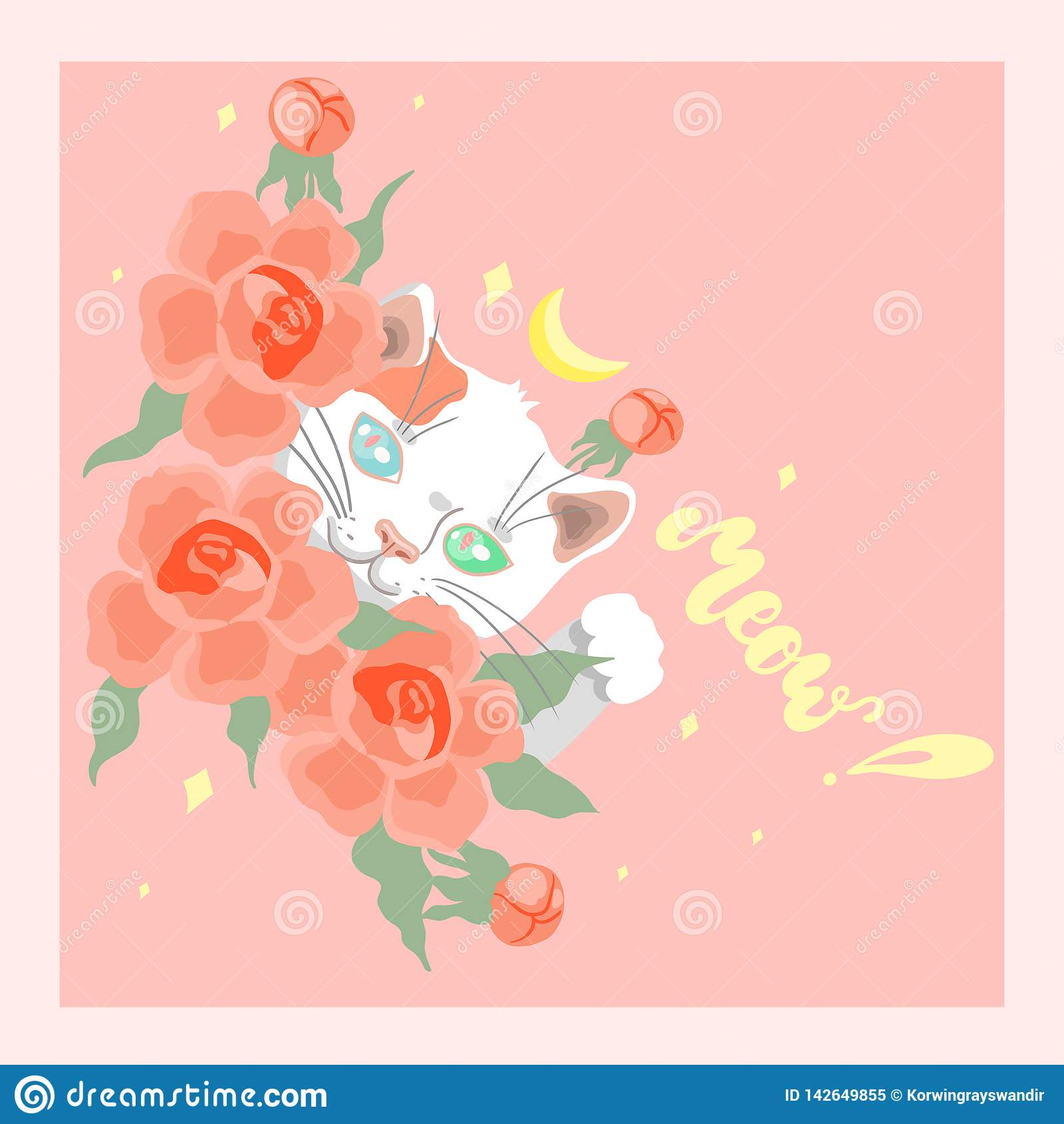Kaart met leuke witte kat onder bloemen vectorbeeld