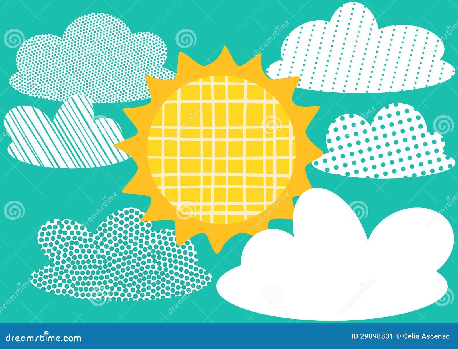 De Kaart van de groet met Zon en Wolken