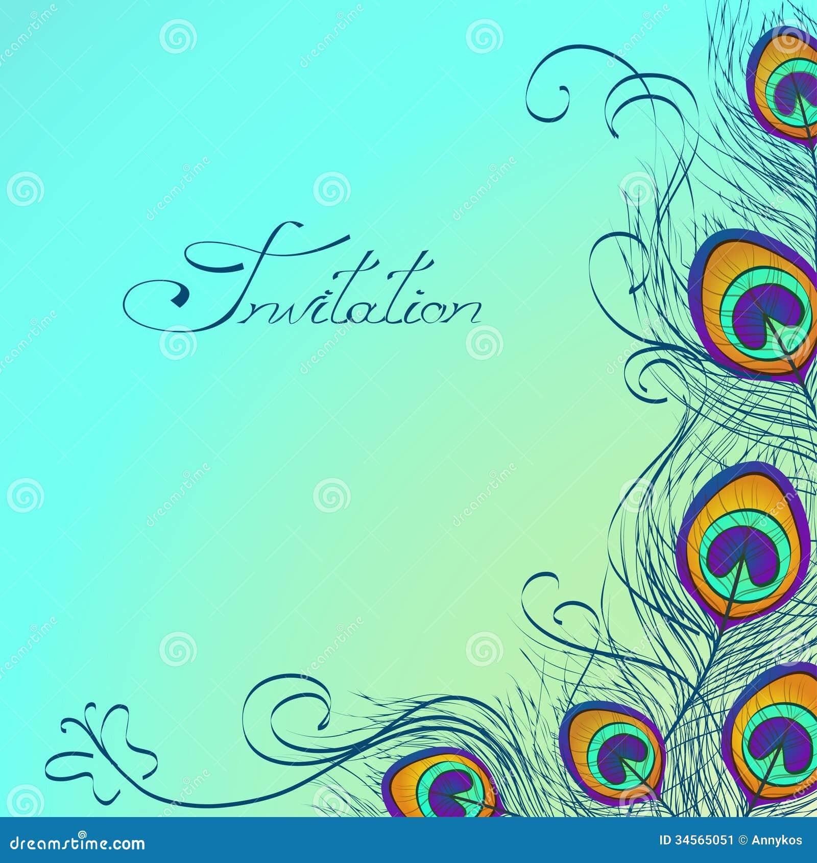 Kaart of uitnodiging met de decoratie van pauwveren stock afbeelding afbeelding 34565051 - Decoratie van de kamers van de meiden ...