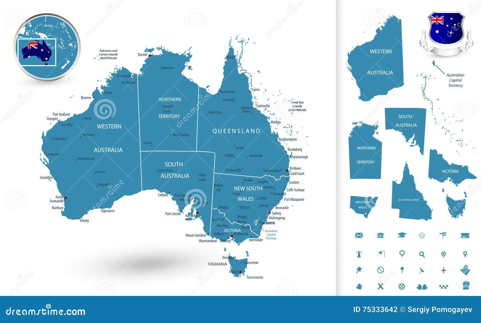Kaart van Australië met gebieden