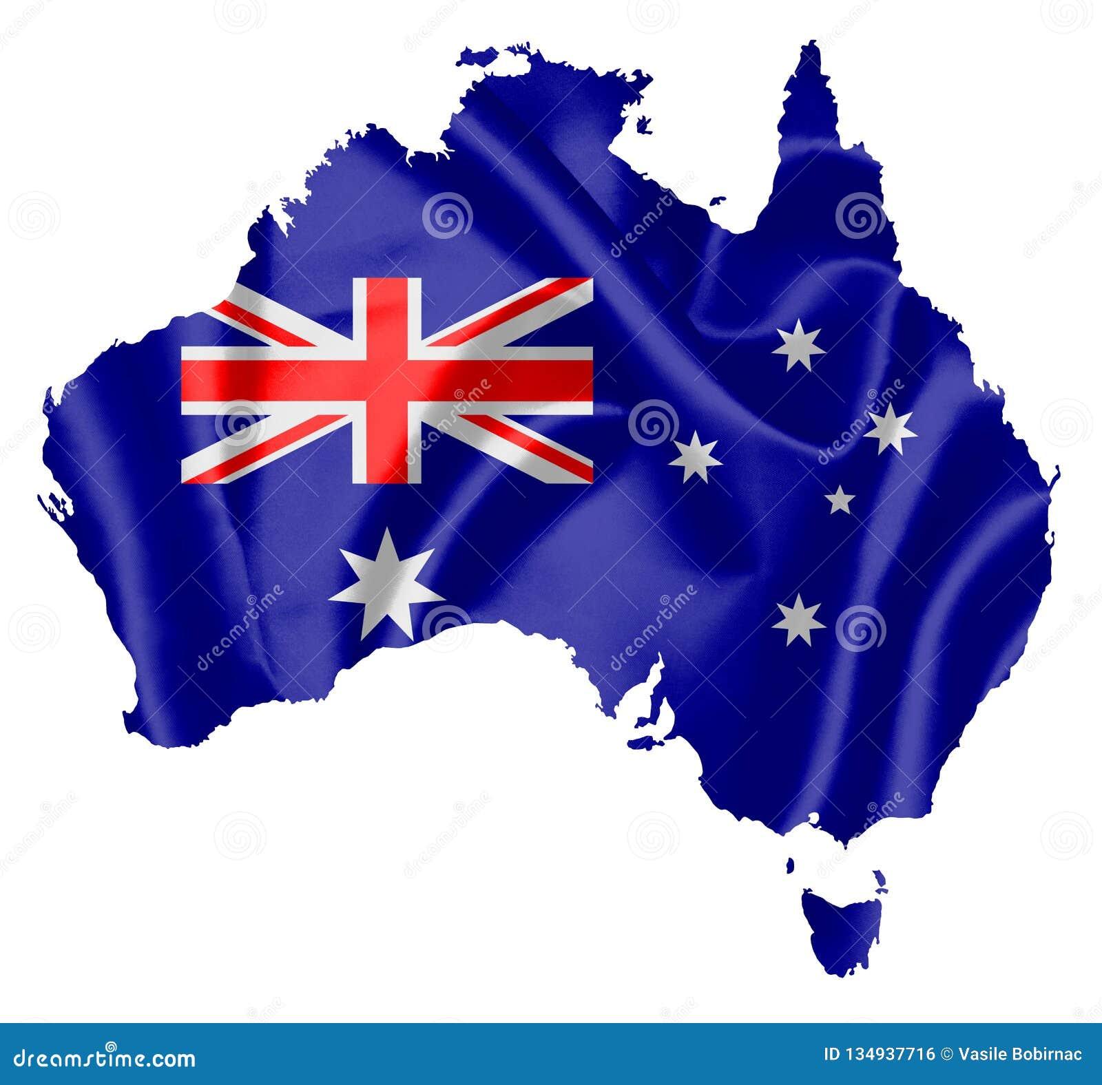 Kaart van Australië met vlag