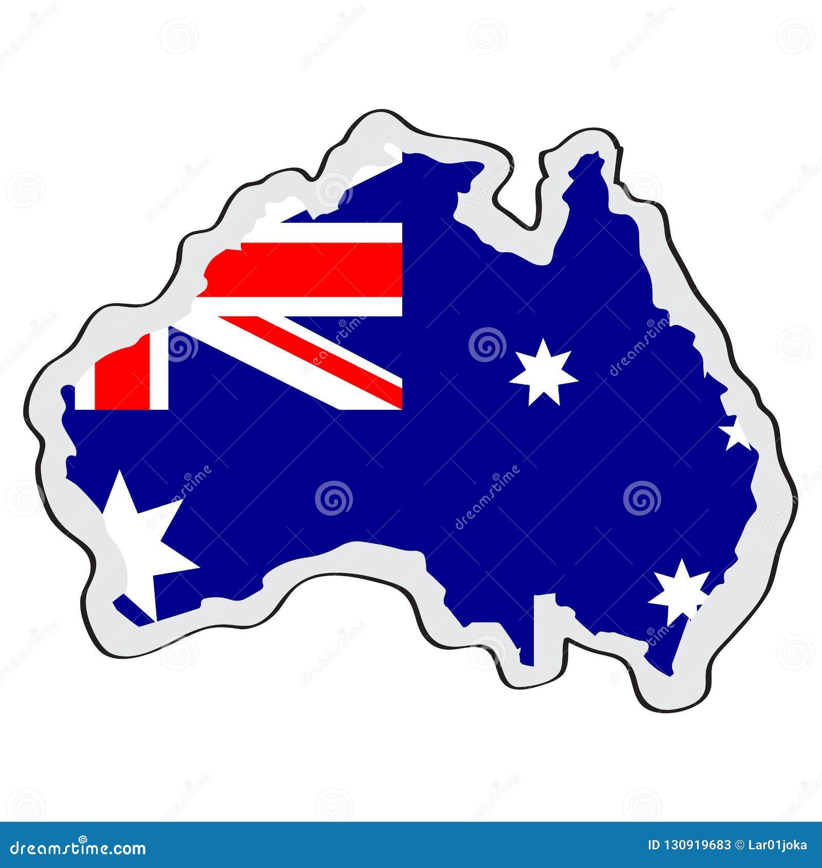 Kaart van Australië met zijn vlag