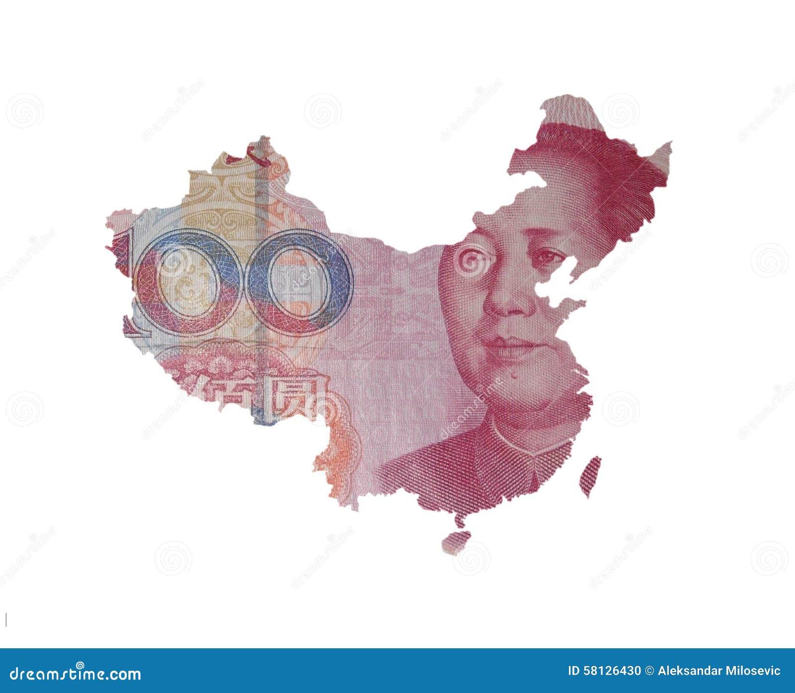 Kaart van China op een yuansrekening