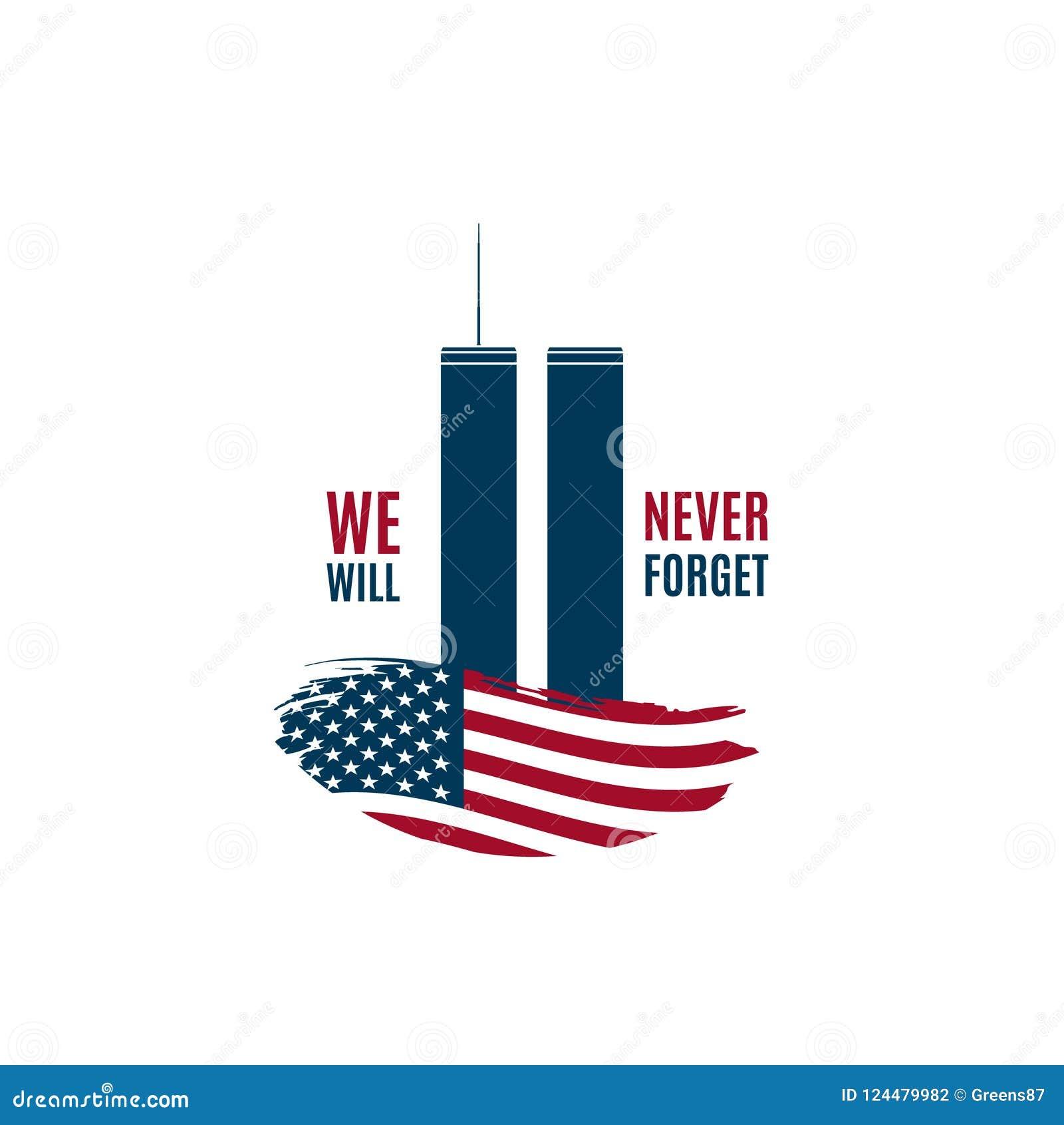 9/11 kaart van de Patriotdag met Tweelingtorens op Amerikaanse vlag en uitdrukking die wij nooit zal vergeten