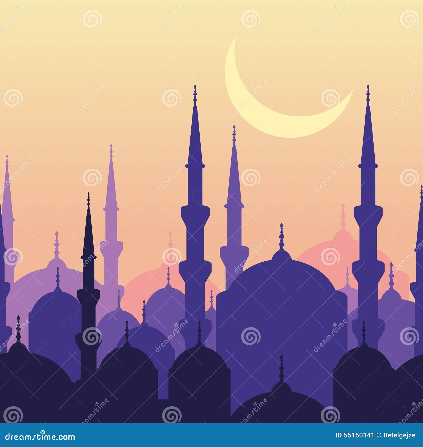 Kaart van de Ramadan de vectorgroet met silhouet van moskee en maan