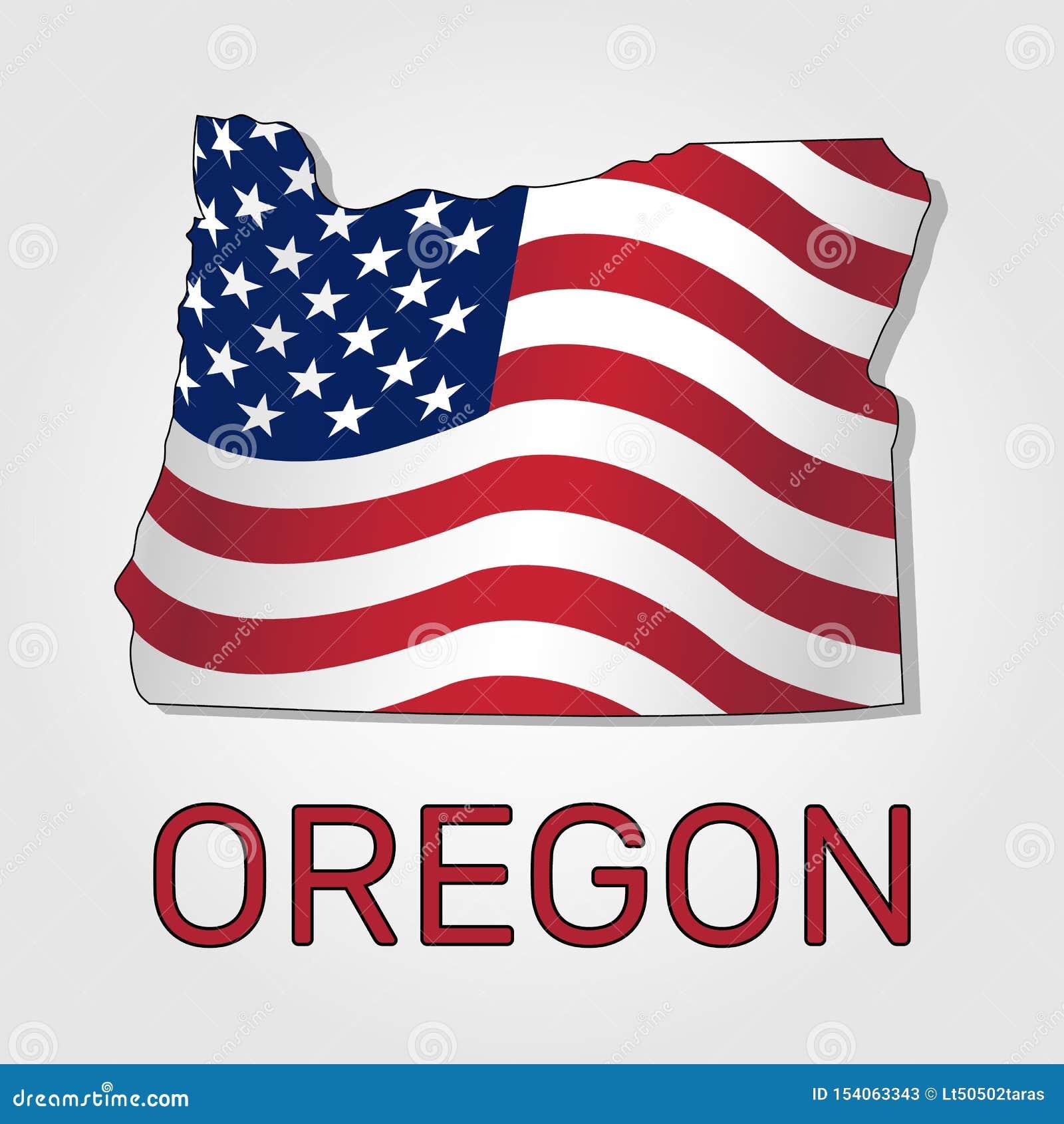 Kaart van de staat van Oregon in combinatie met het golven de vlag van de Verenigde Staten - Vector
