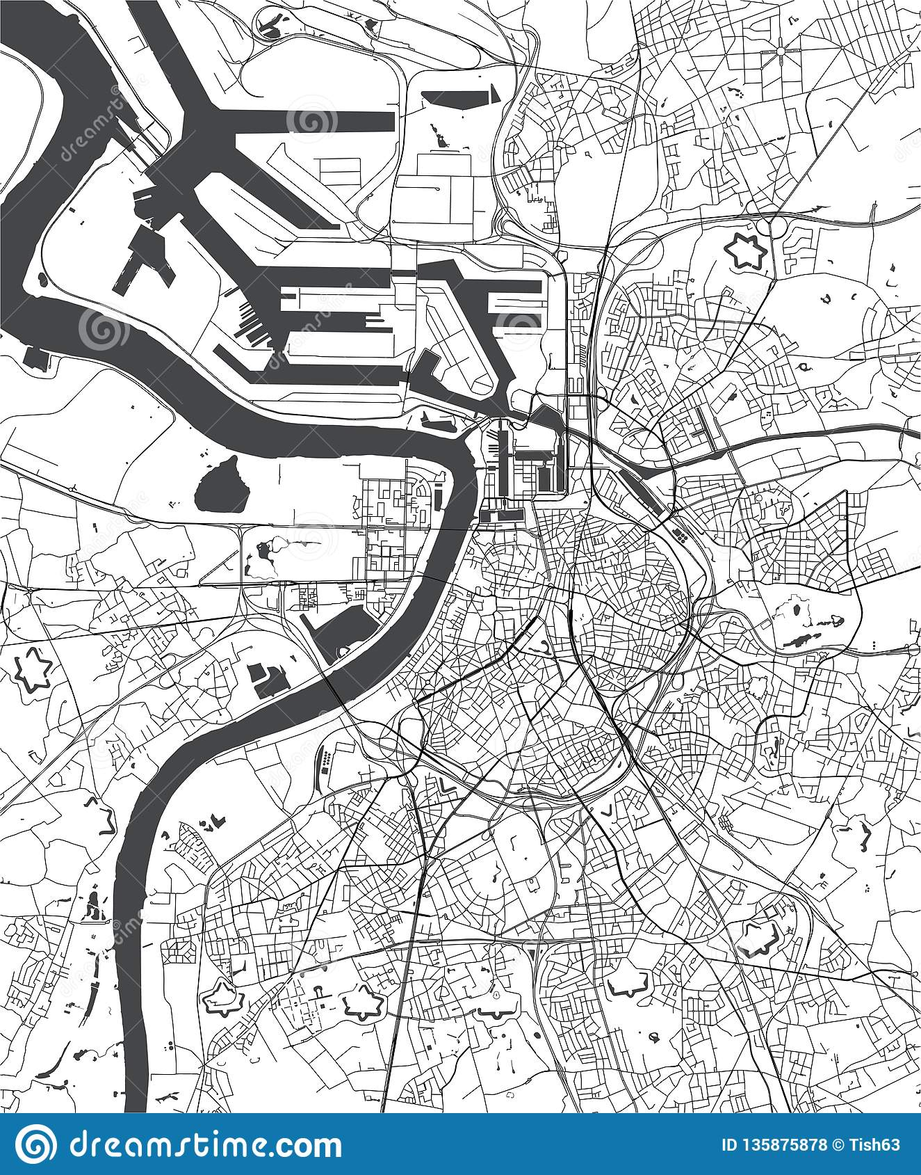 Kaart Van De Stad Van Antwerpen Belgie Stock Illustratie Illustratie Bestaande Uit Meir Rivier 135875878