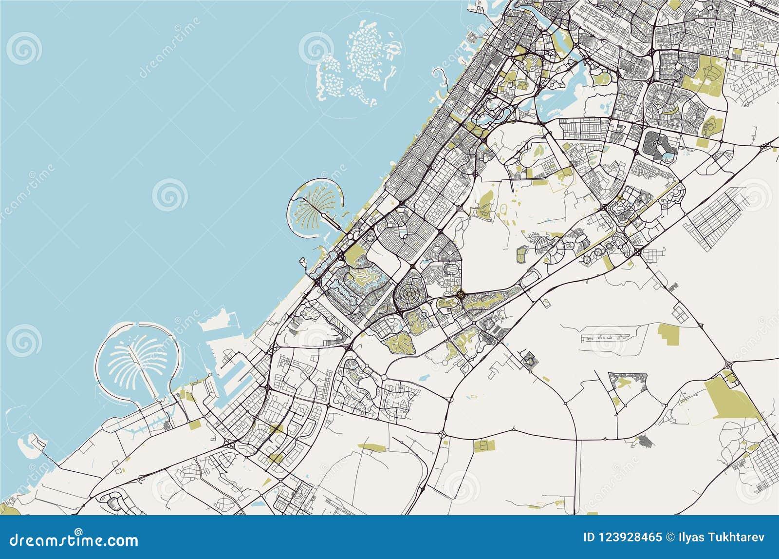 Kaart van de stad van Doubai, Verenigde Arabische Emiraten de V.A.E
