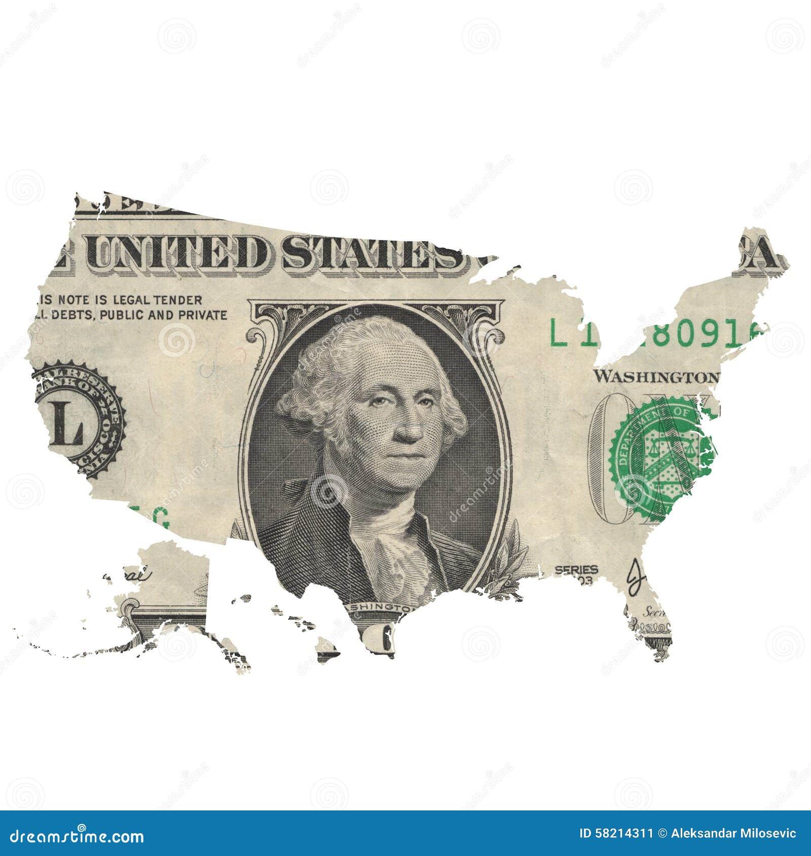 Kaart van de V.S. op een één dollarrekening