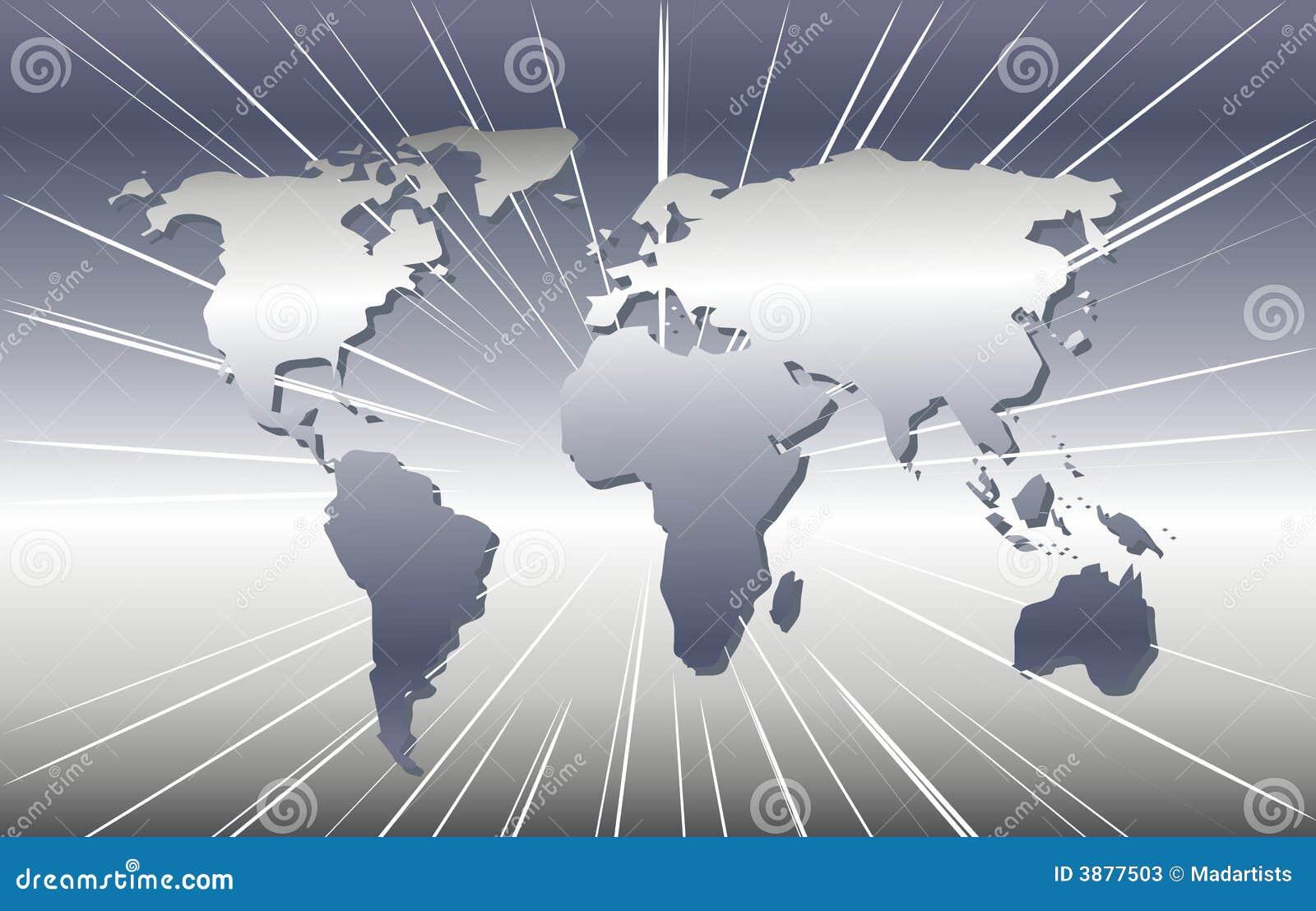 Kaart van de Wereld in Zilver