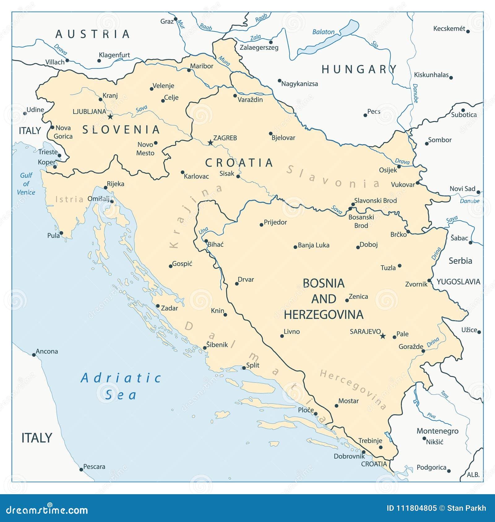 Kaart Van De Westelijke Balkan Vector Illustratie Illustratie