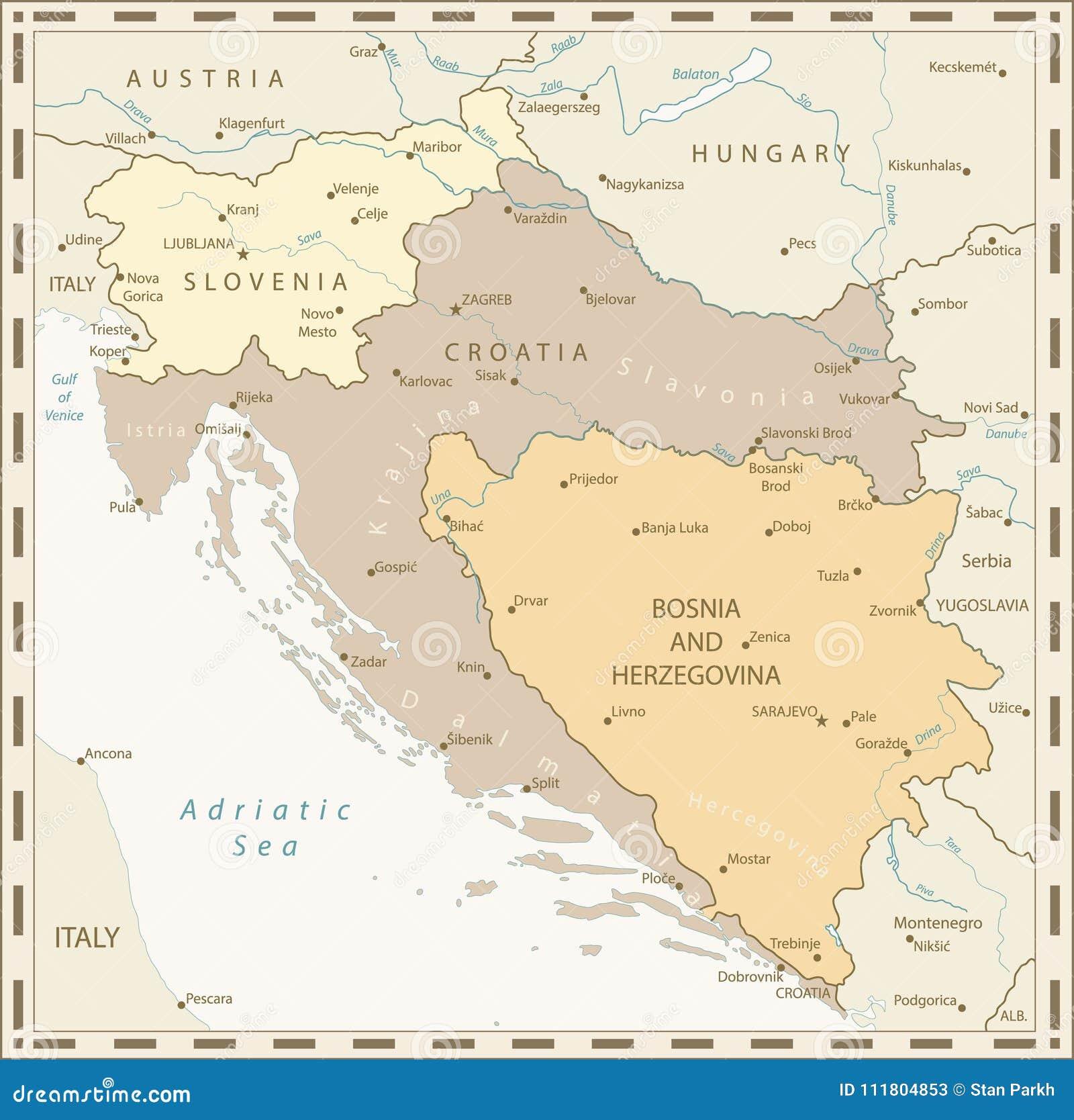 Kaart Van De Westelijke Retro Kleuren Van De Balkan Vector