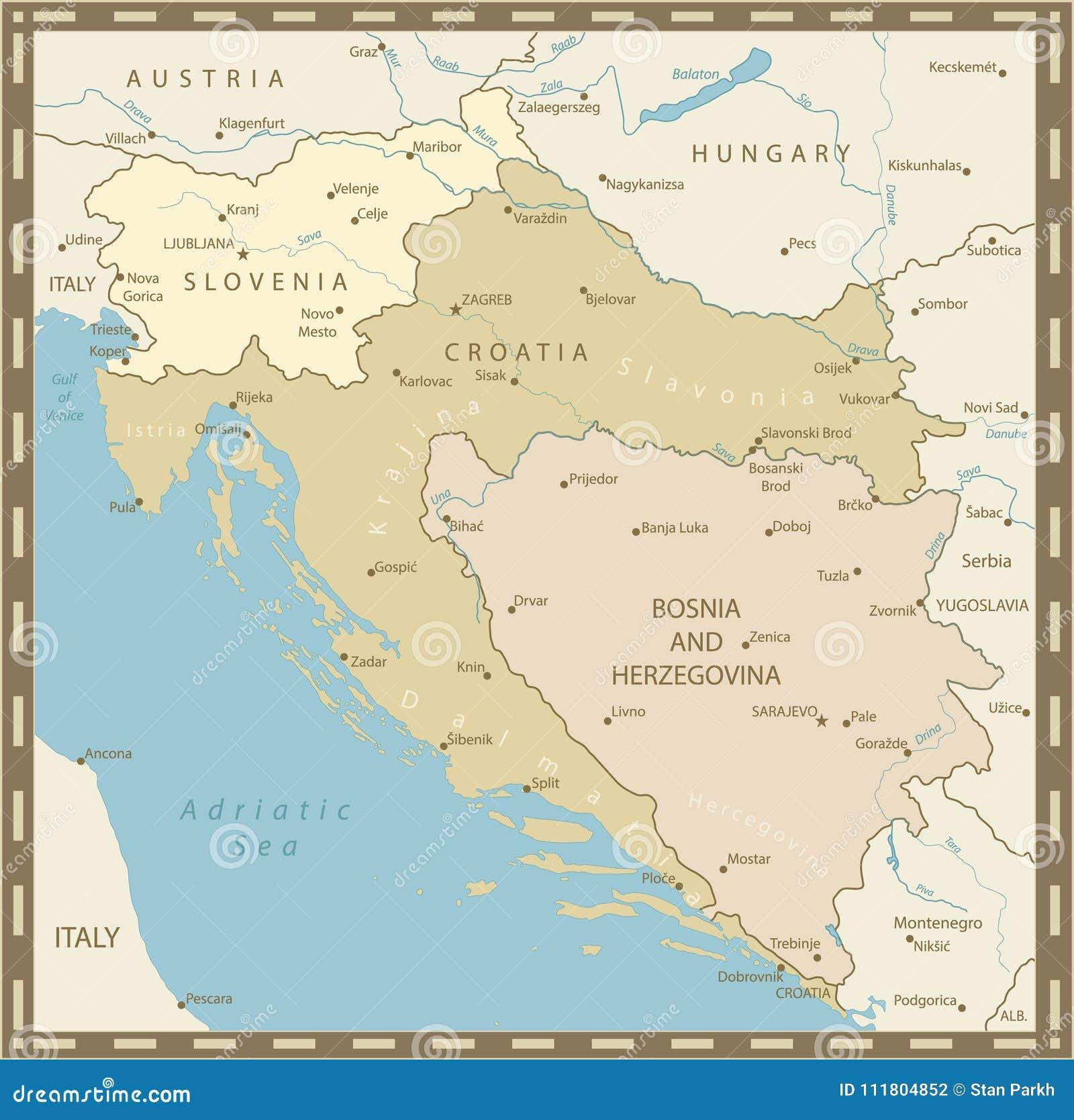 Kaart Van De Westelijke Uitstekende Kleuren Van De Balkan Vector