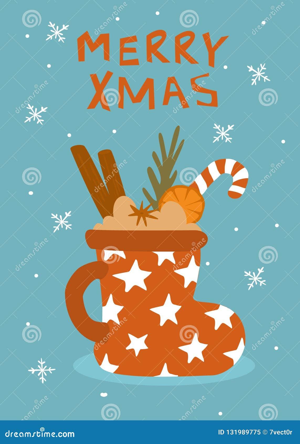 Kaart van de de wintergroet van het Kerstmis overwoog de gelukkige nieuwe jaar met verfraaide hete drank wijnmok in een vorm van