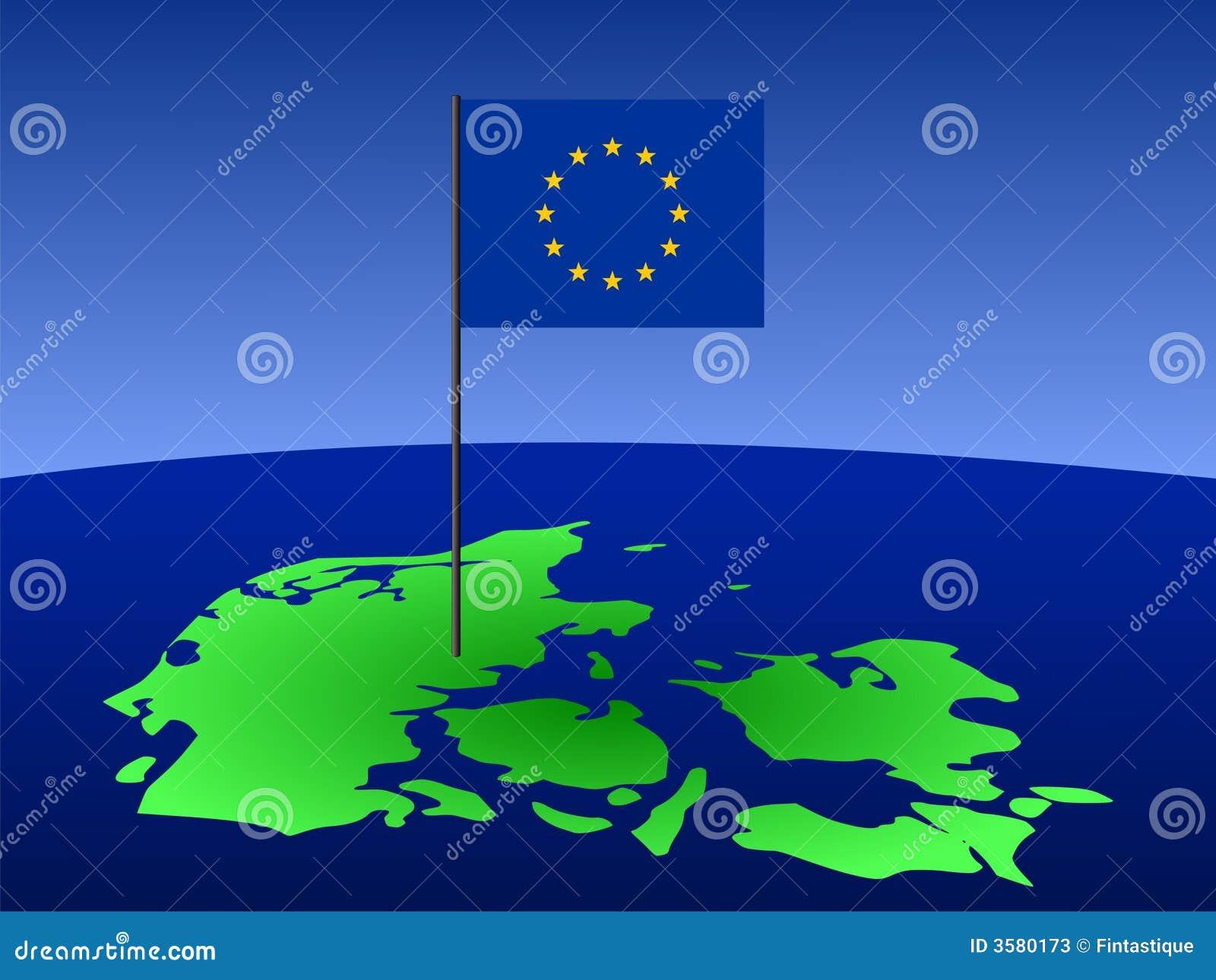 Kaart van Denemarken met vlag