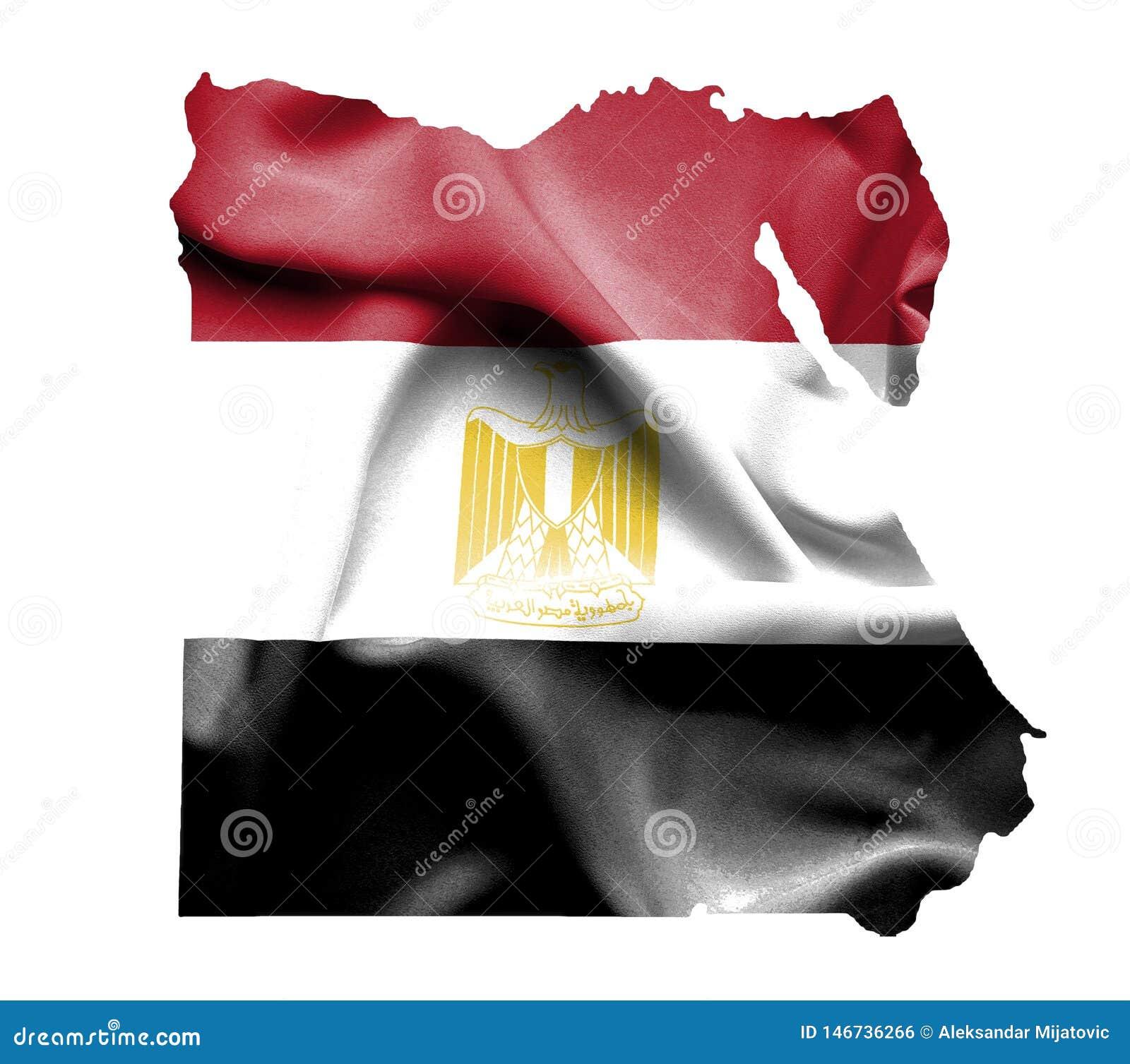 Kaart van Egypte met golvende die vlag op wit wordt geïsoleerd