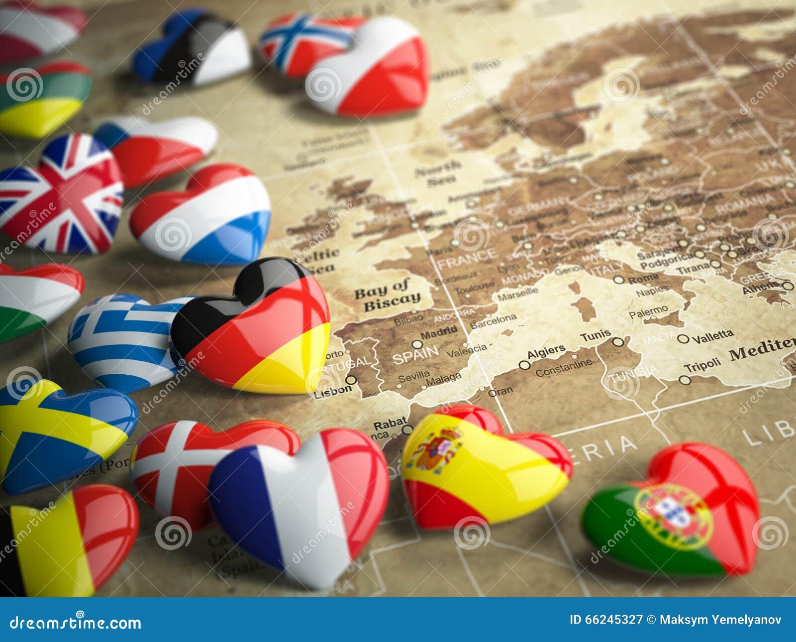 Kaart van Europa en harten met vlaggen van Europese landen Trave