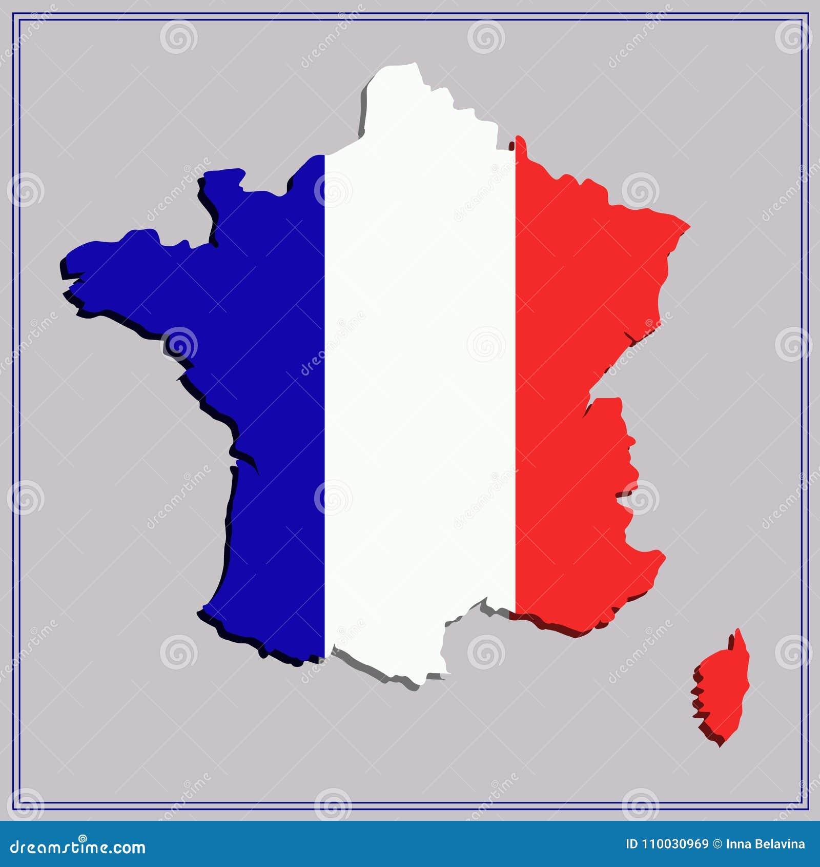 Kaart van Frankrijk Illustratie