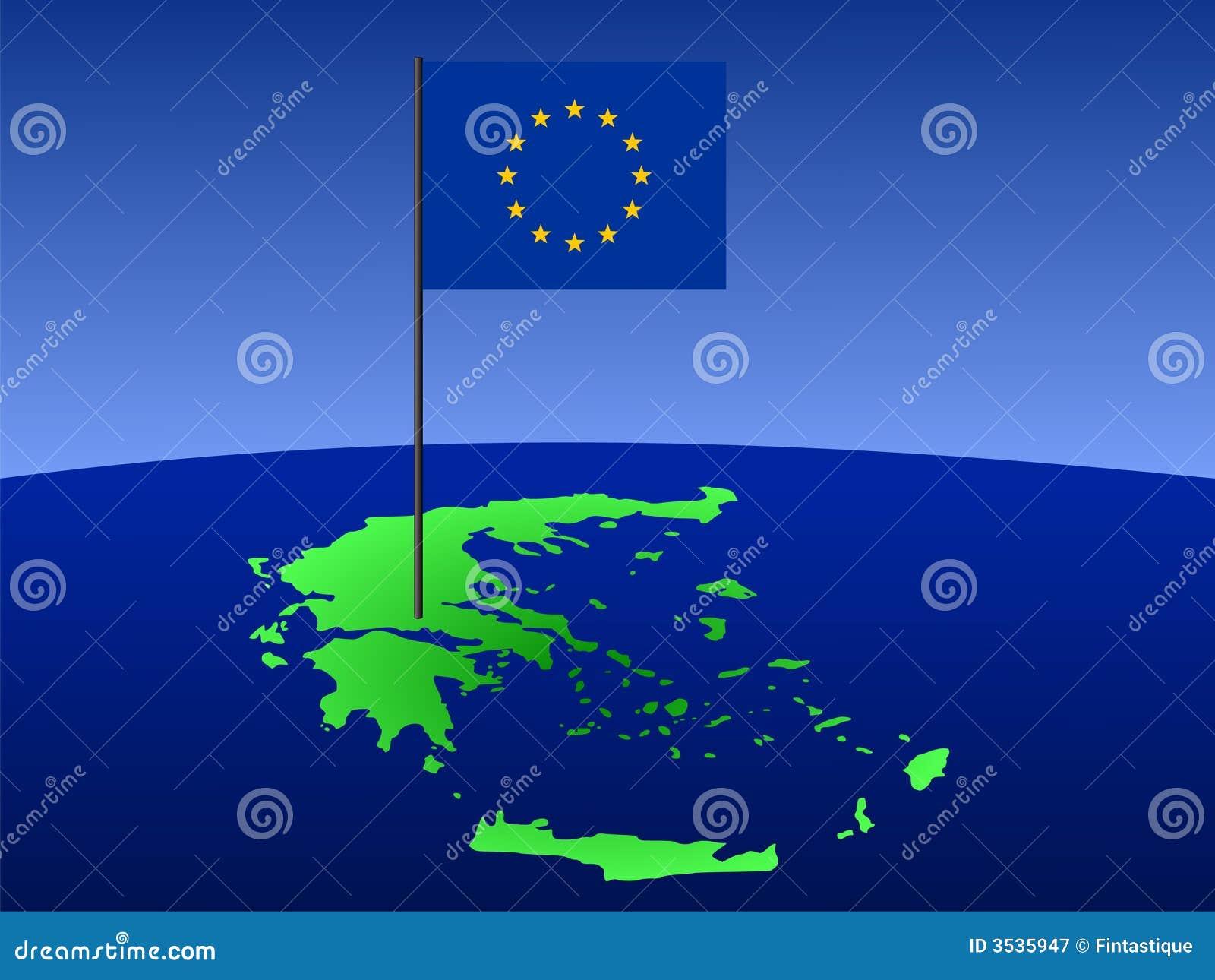 Kaart van Griekenland met vlag