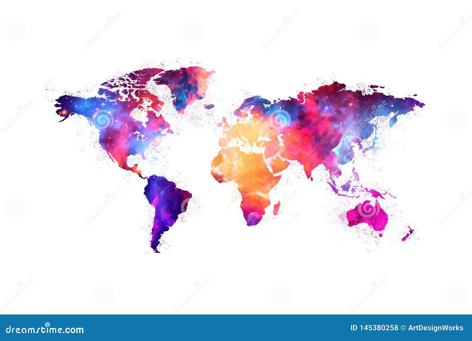 Kaart van het ruimteontwerp van de wereld artistieke kleurrijke nevel